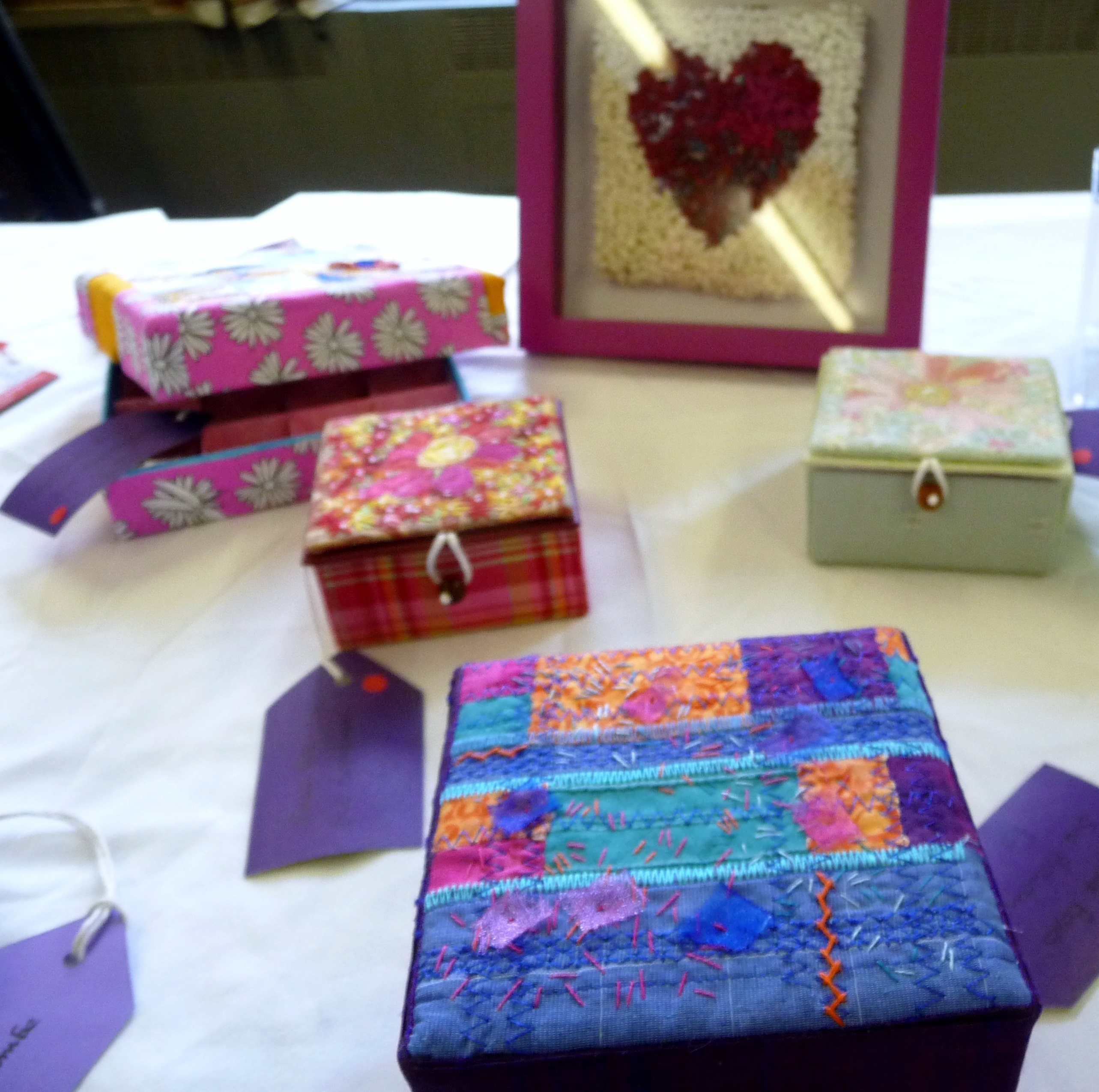 selection of embroidered boxes at CONTEXT exhibition 2014