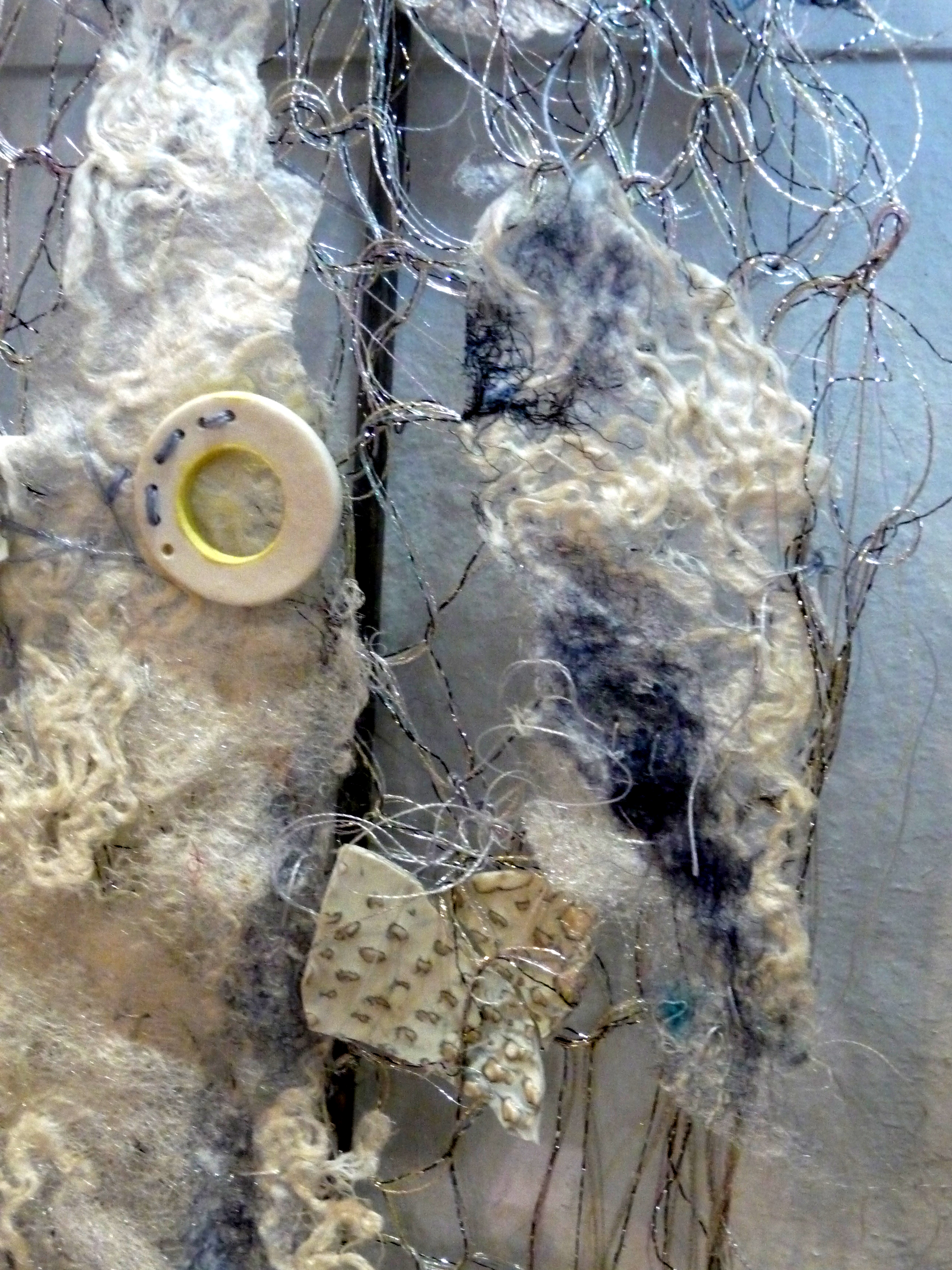 MOON LANDSCAPE(detail) by Vera Morgan, knitted wire, ceramics and felt