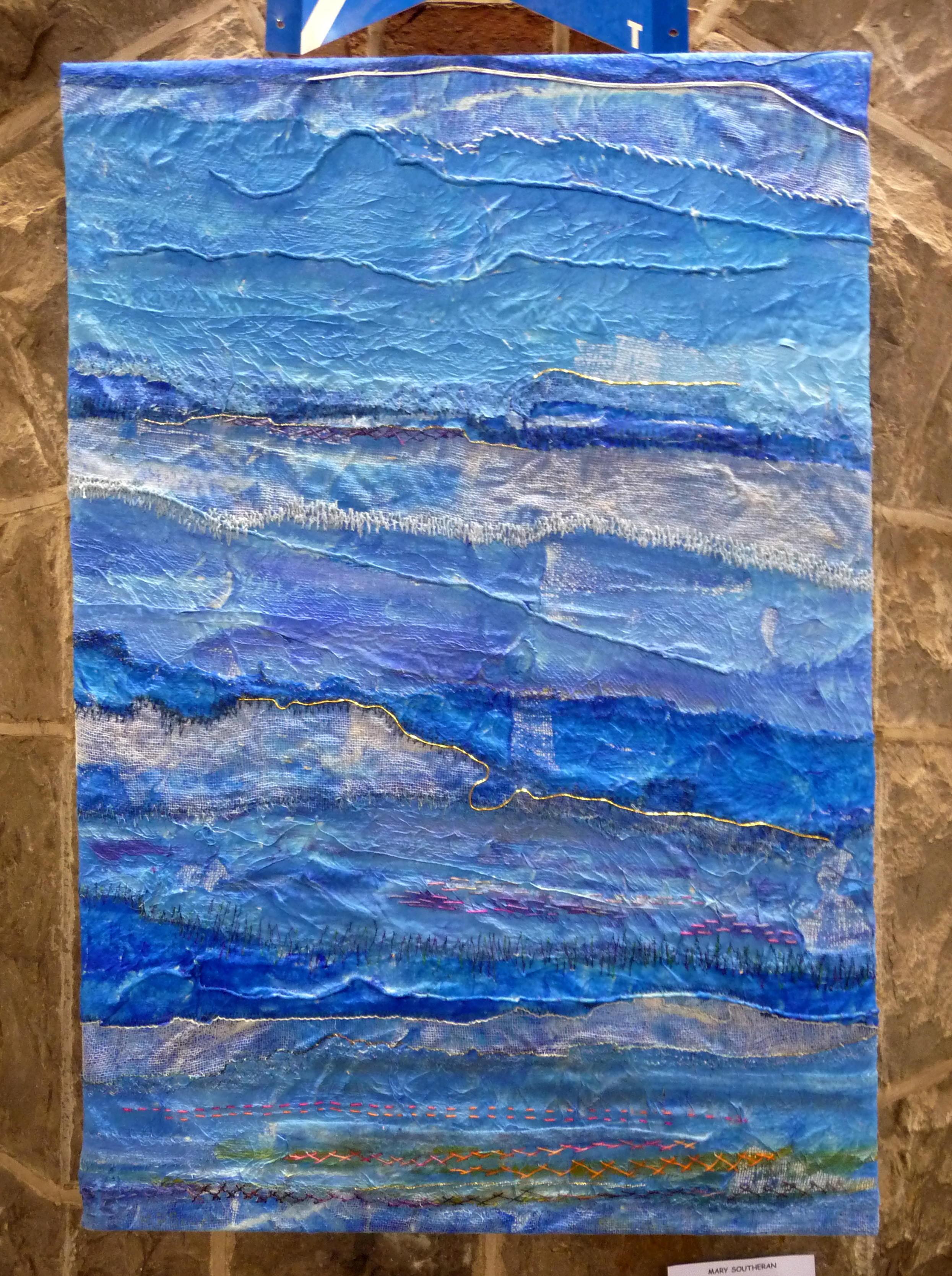 BLUE SKIES by Mary Southern, hand and machine embroidered painted scrim