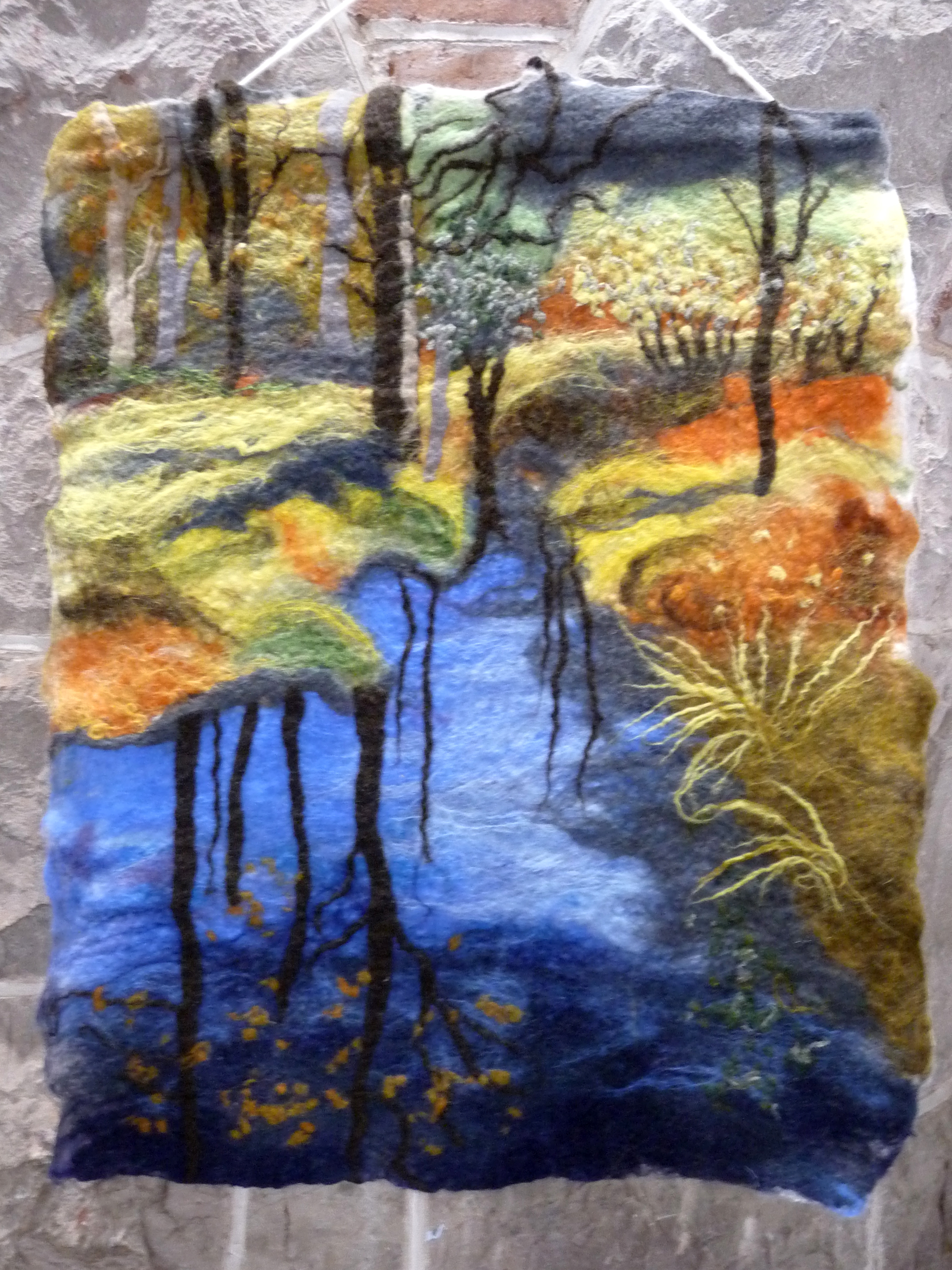 AUTUMN AT HIGH DAM by Mary Carr, hand-made felt hanging