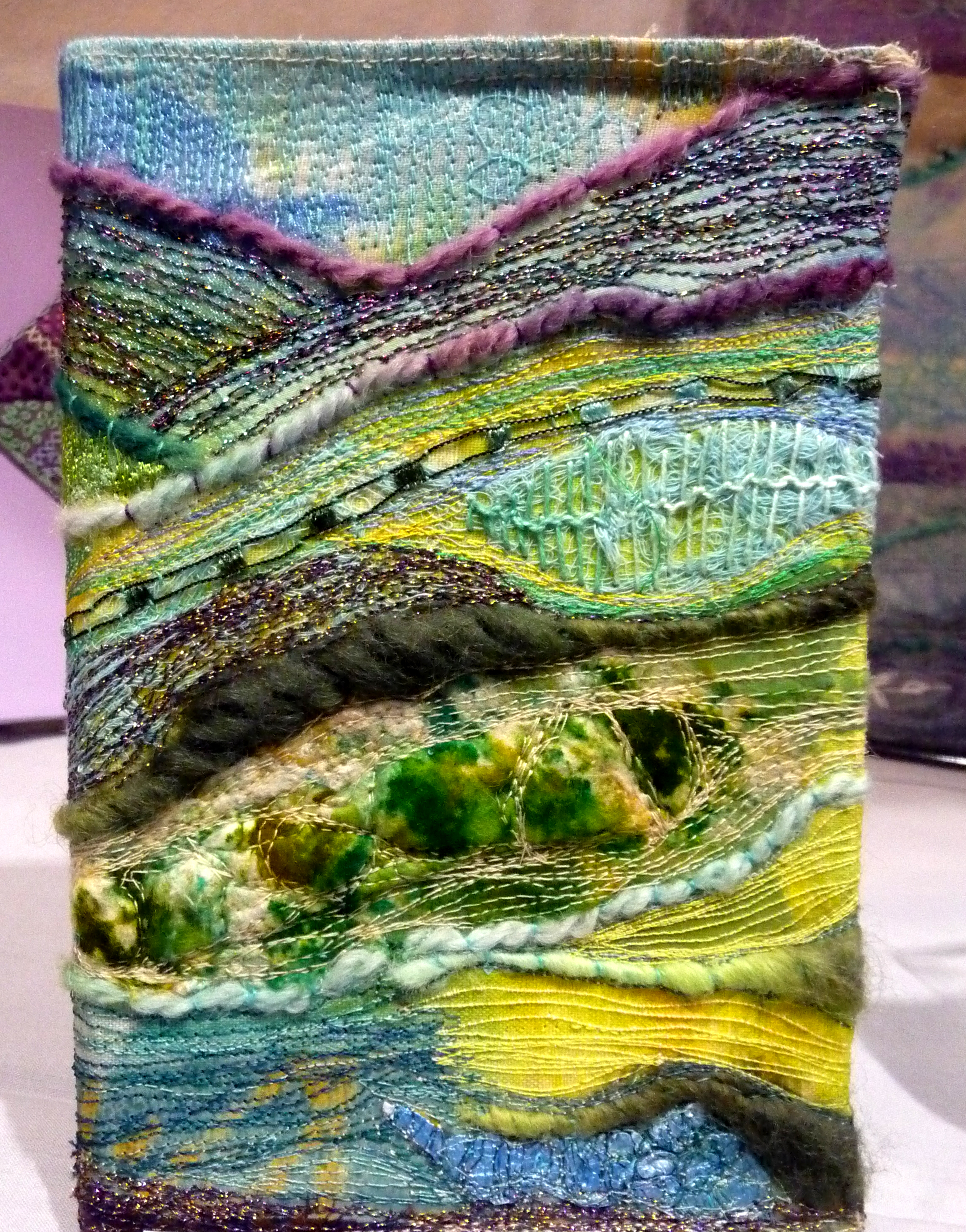 BOOK COVER-ABSTRACT LANDSCAPE by Roselie Gardner, hand and machine embroidery