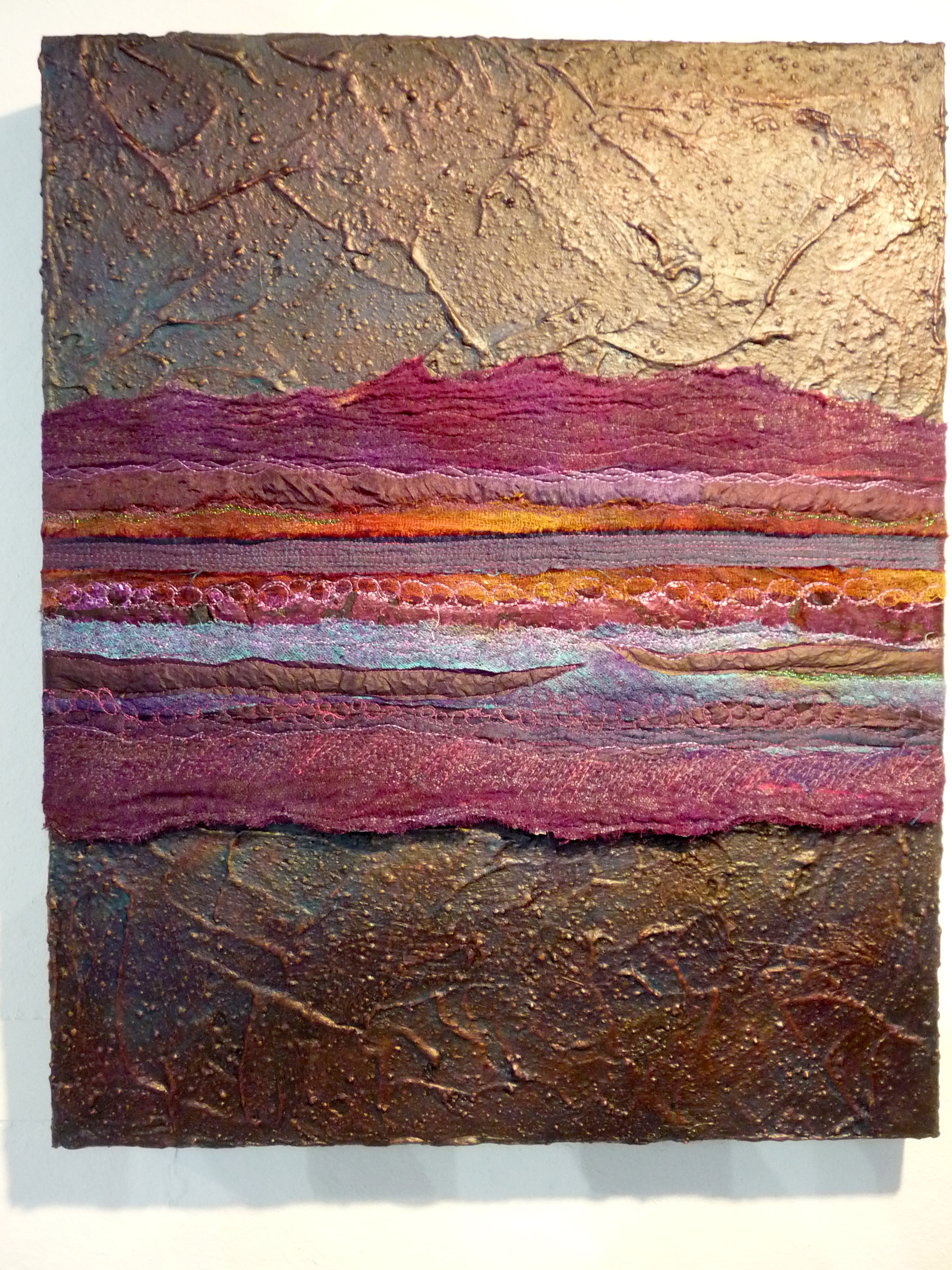 PURPLE HAZE by Carol McFee, mixed media, lutrador, tissue, silk, foil, paper, paint and stitch