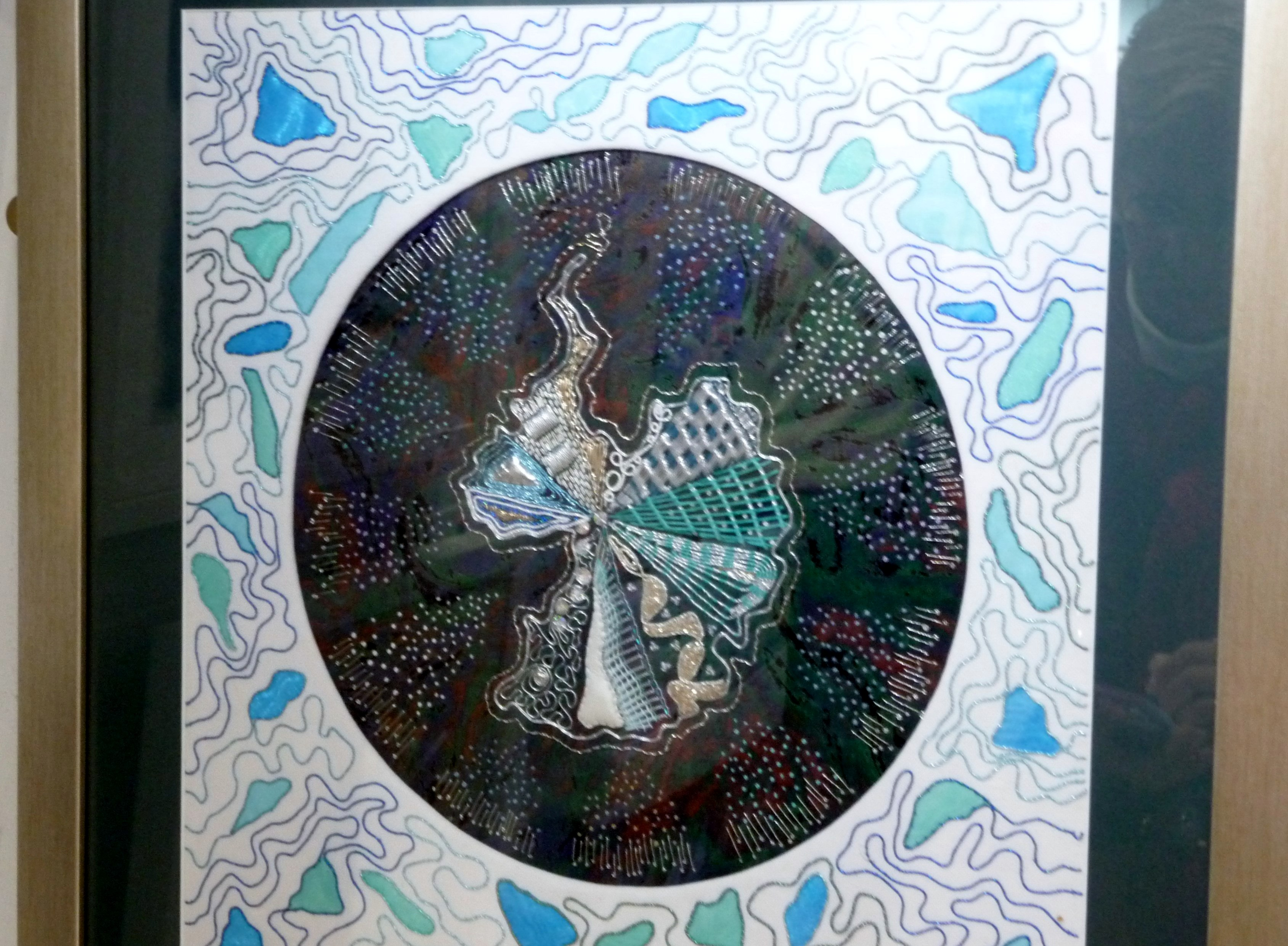 OZONE IN BLUE by Judy Roberts, mixed media with silver Goldwork