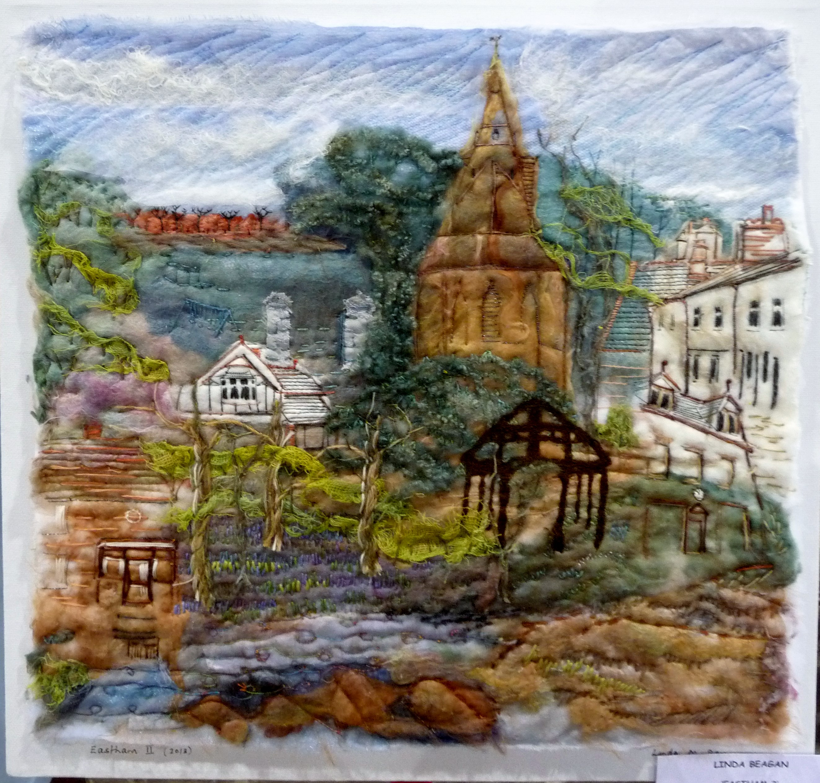 EASTHAM 2 by Linda Beagan, silk collage, hand and machine stitched