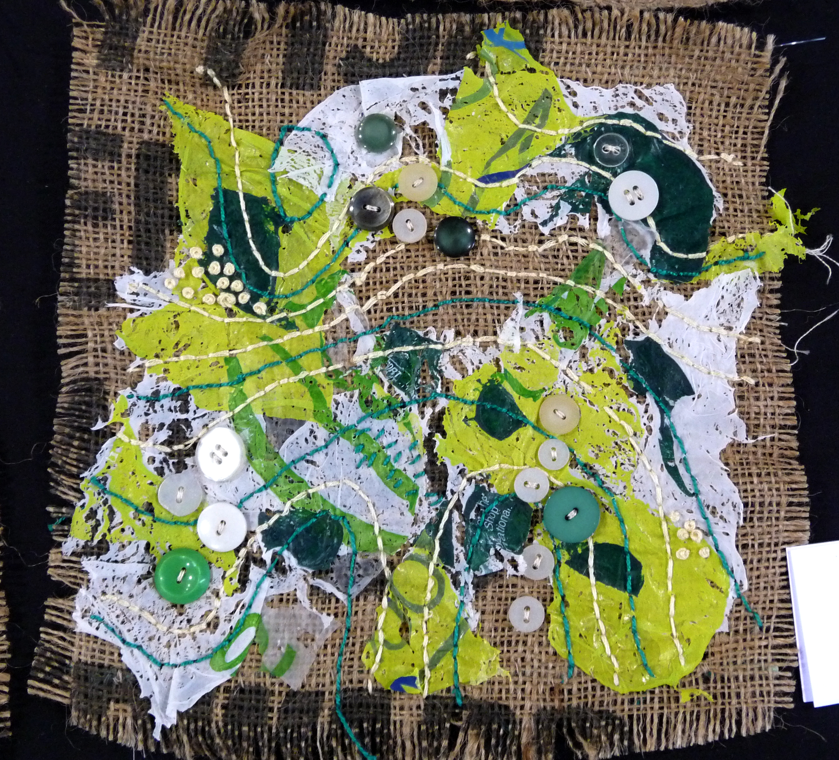 MIND MAP, Wild & Wacky, by Gill Snaith, recycled potato sack, plastic bags, buttons and threads