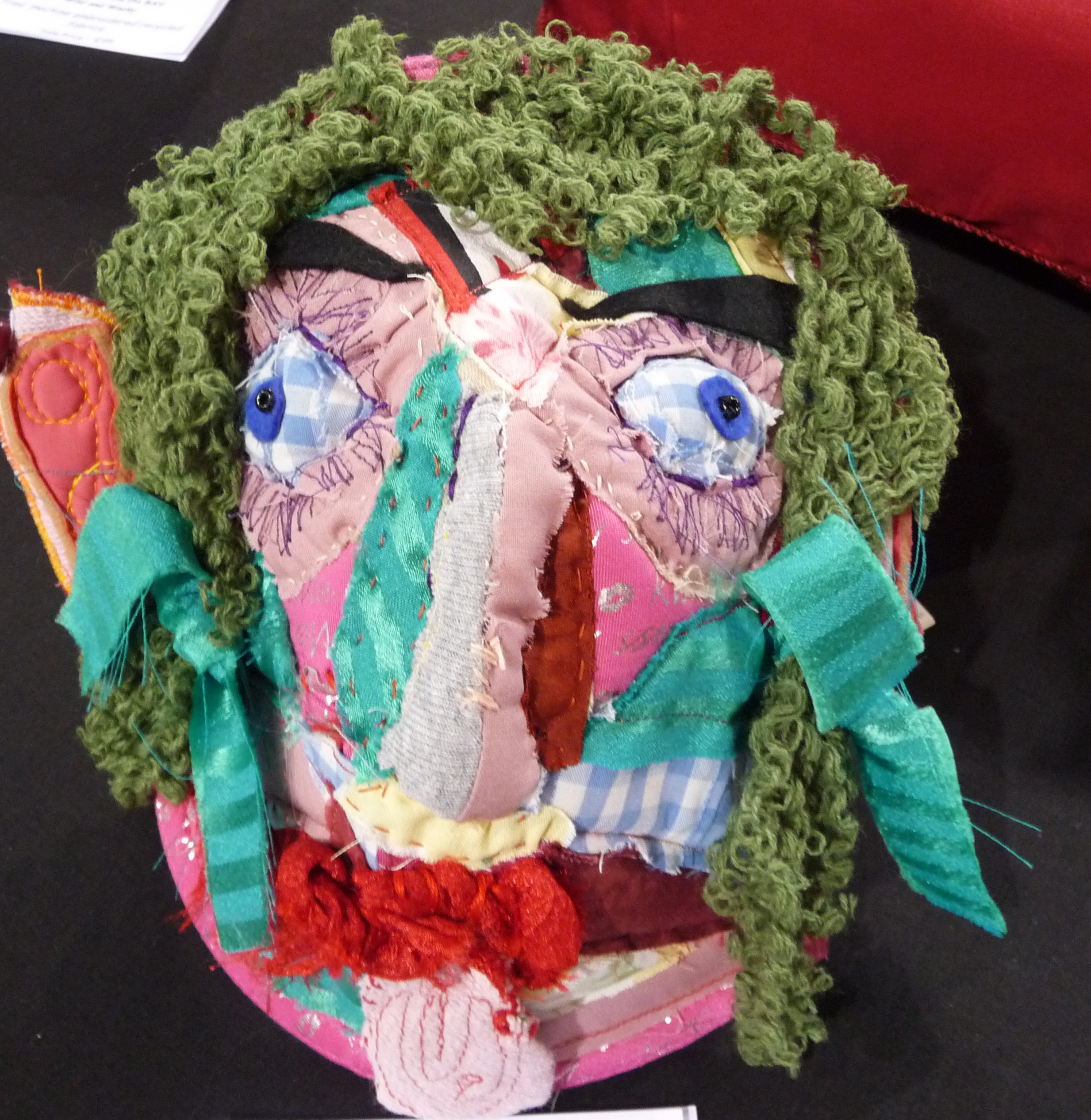 LADY BARBARA, Wild & Wacky, by Stuart Carr, fabric collage, recycled bra, shirt, blouse and cardigan
