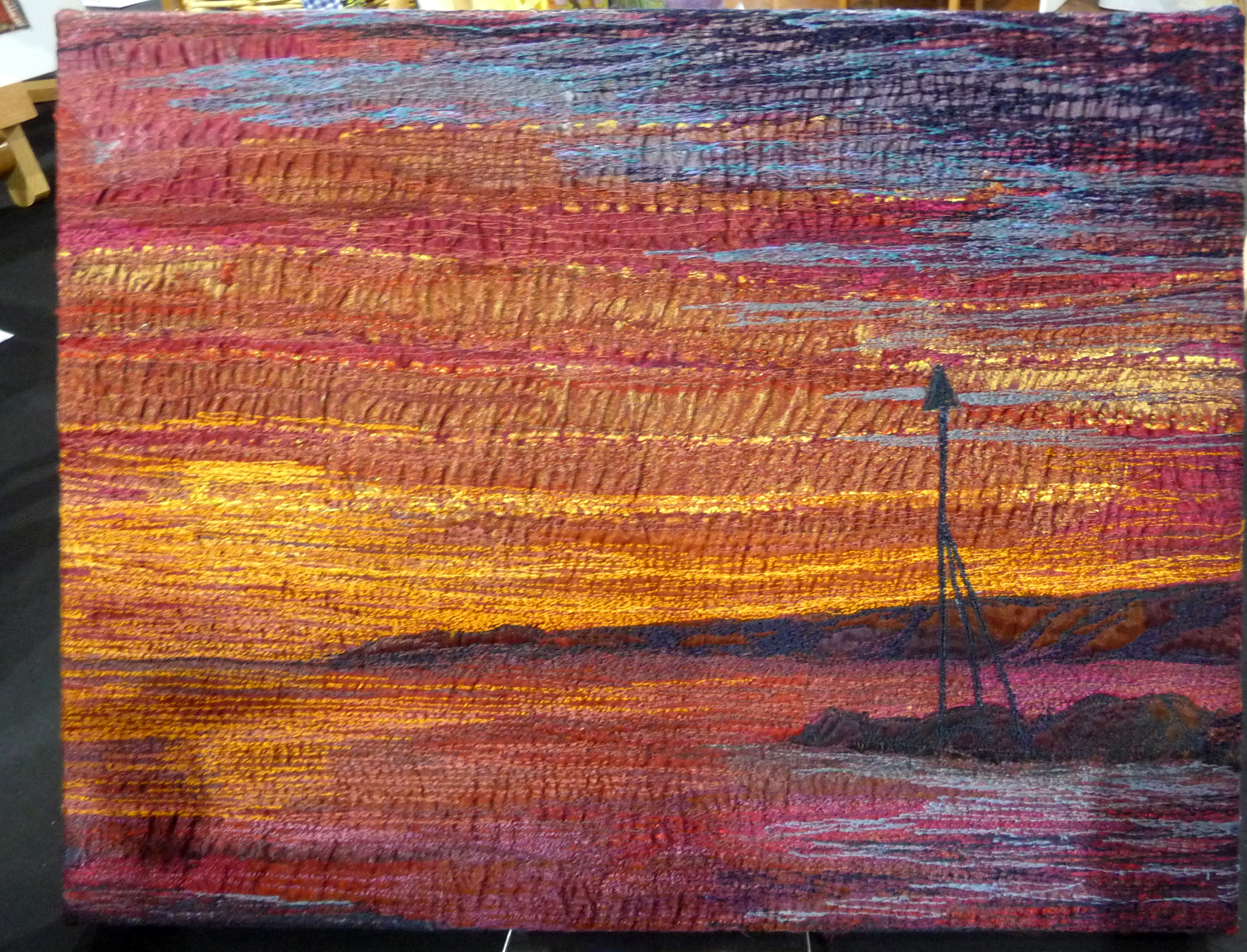SUNSET COLWYN BAY, Wild & Wacky, by Pauline Foster, free machine embroidered recycled fabrics