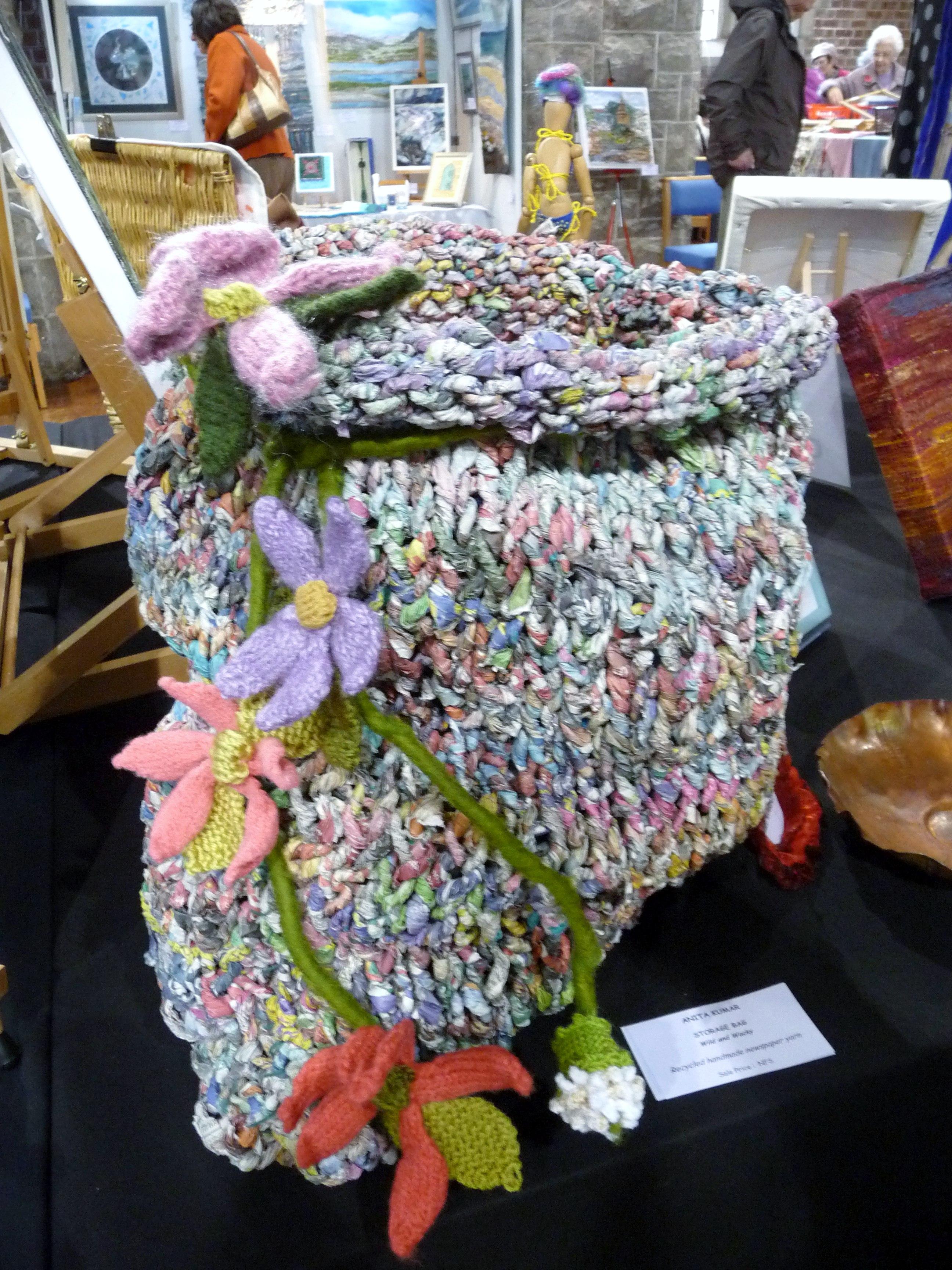 STORAGE BAG, Wild & Wacky, by Anita Kumar, recycled handmade newspaper yarn