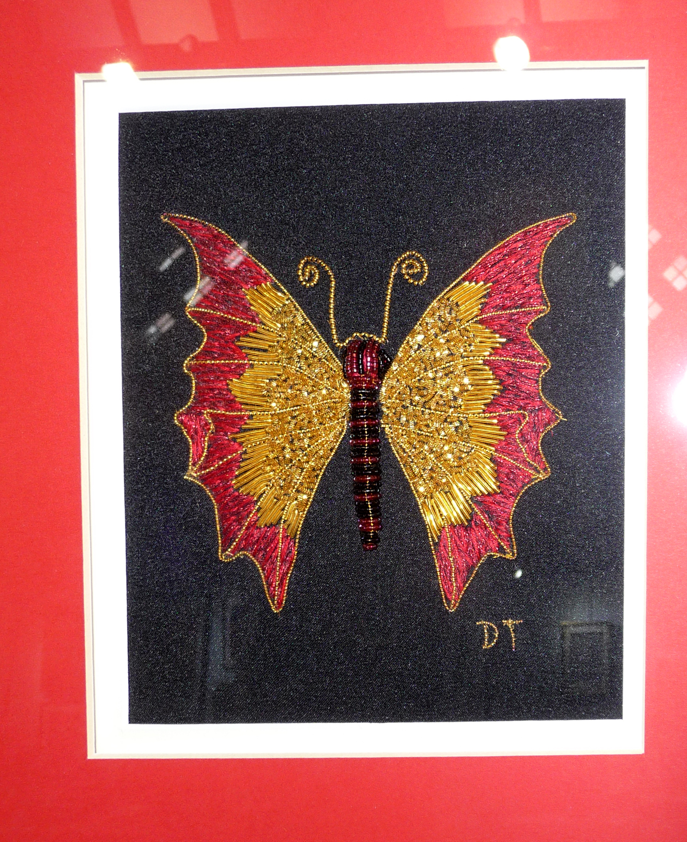 BUTTERFLY by Dianne Thomas, goldwork with beads