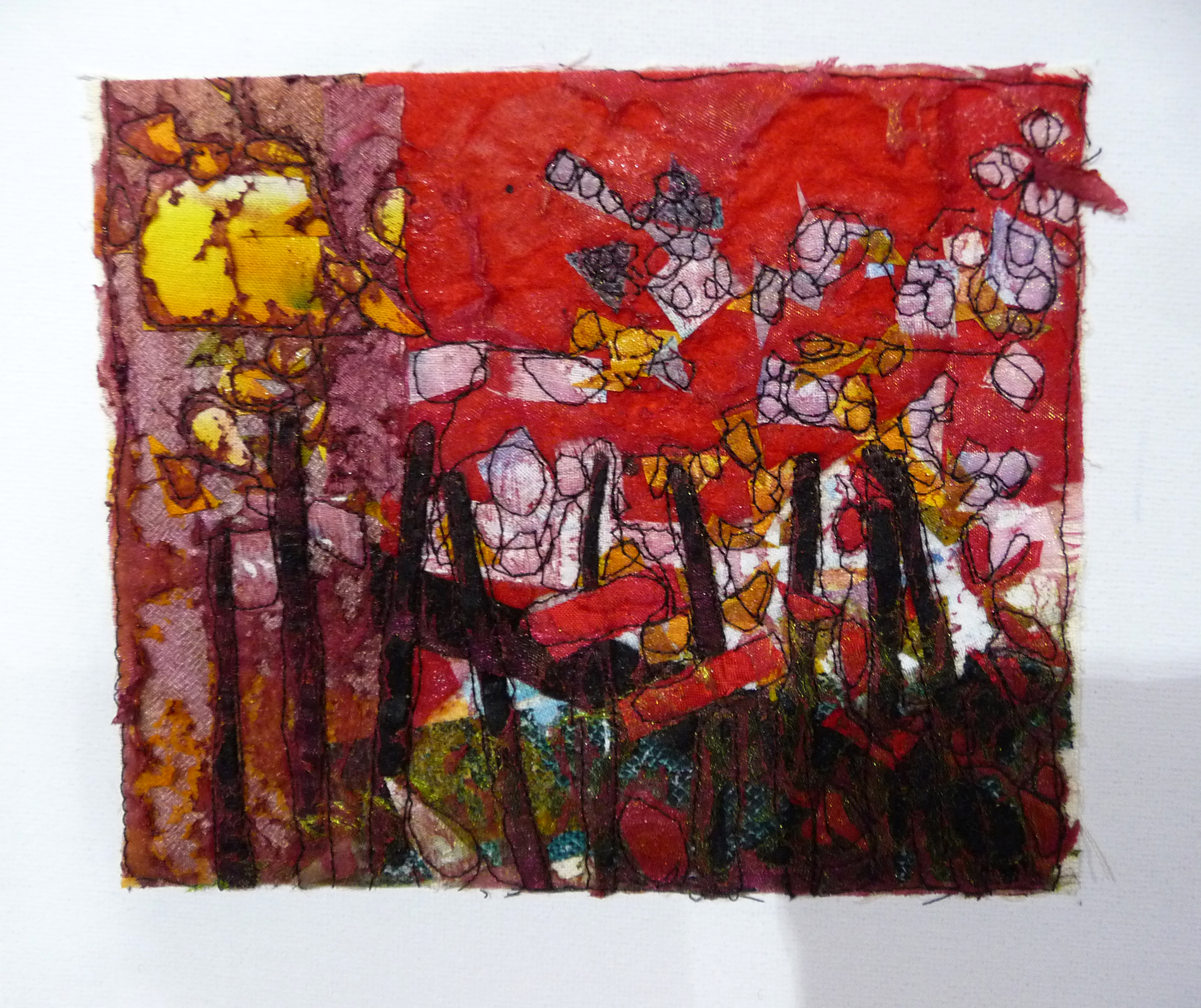 THE RED HOUSE by Susan Gallacher, fabric collage