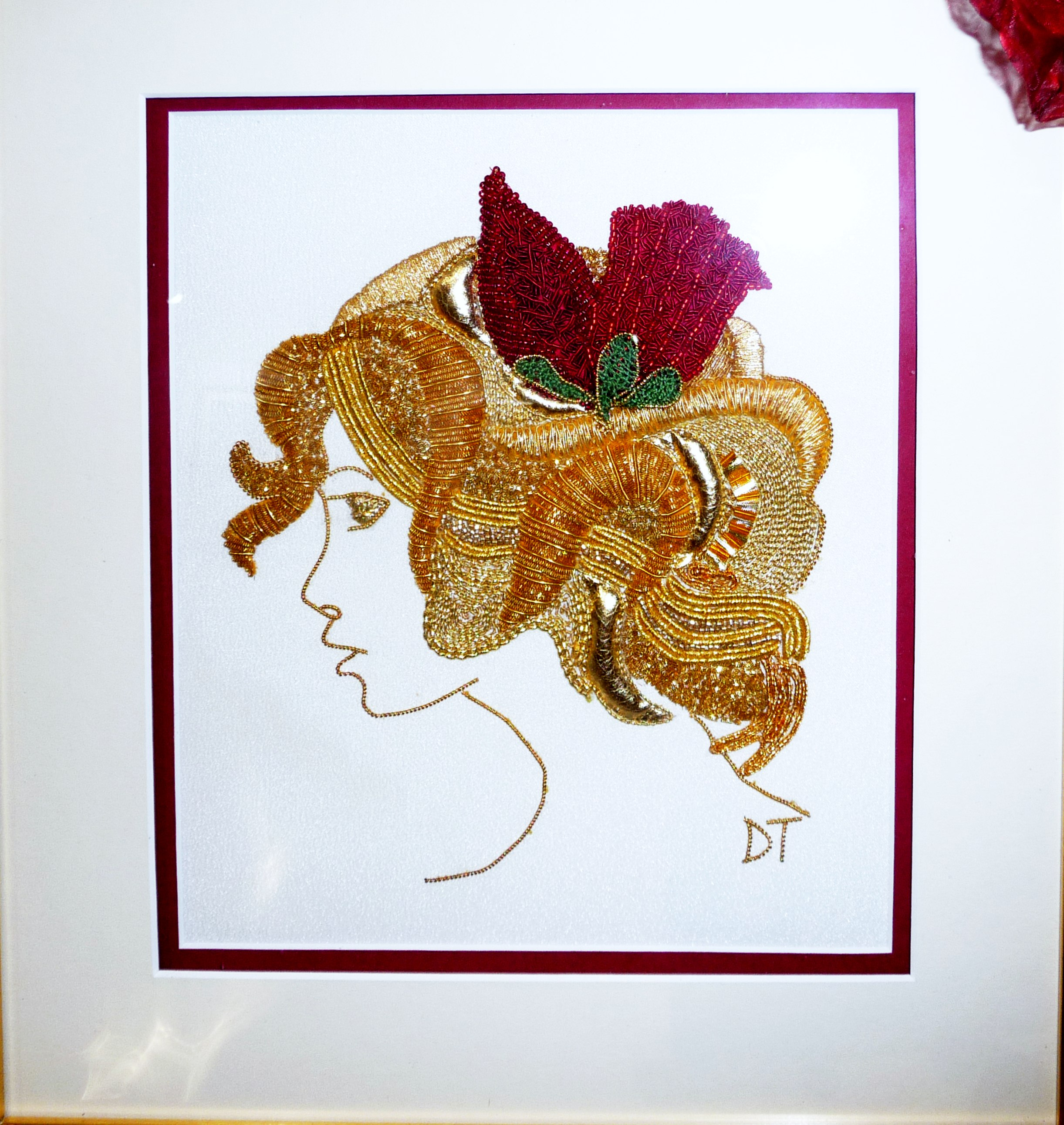 GOLD LADY by Dianne Thomas, WINNER OF JOYCE STUBBS MEMORIAL PRIZE FOR TRADITIONAL EMBROIDERY, goldwork