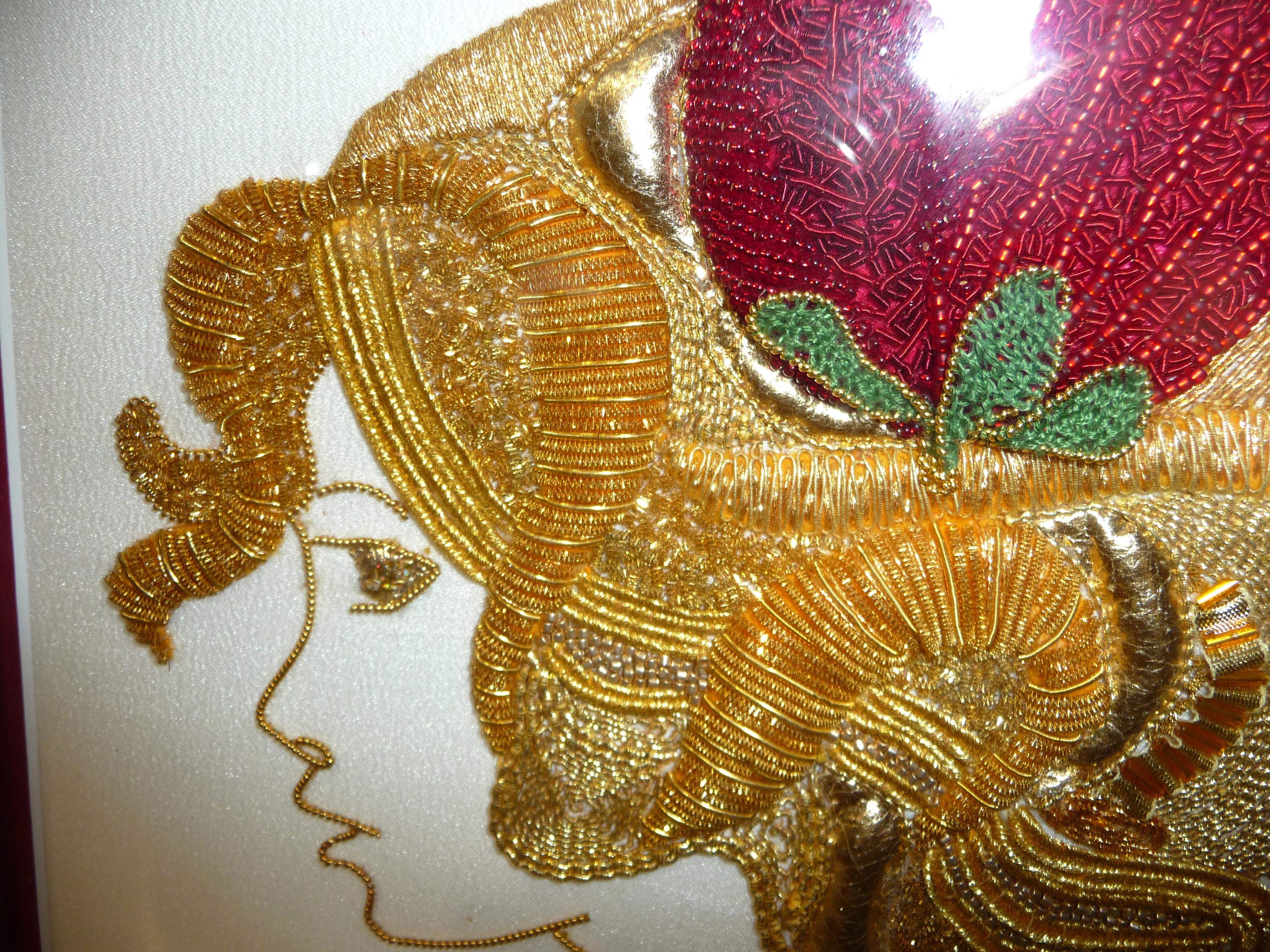 GOLD LADY(detail) by Dianne Thomas, WINNER OF JOYCE STUBBS MEMORIAL PRIZE FOR TRADITIONAL EMBROIDERY, goldwork