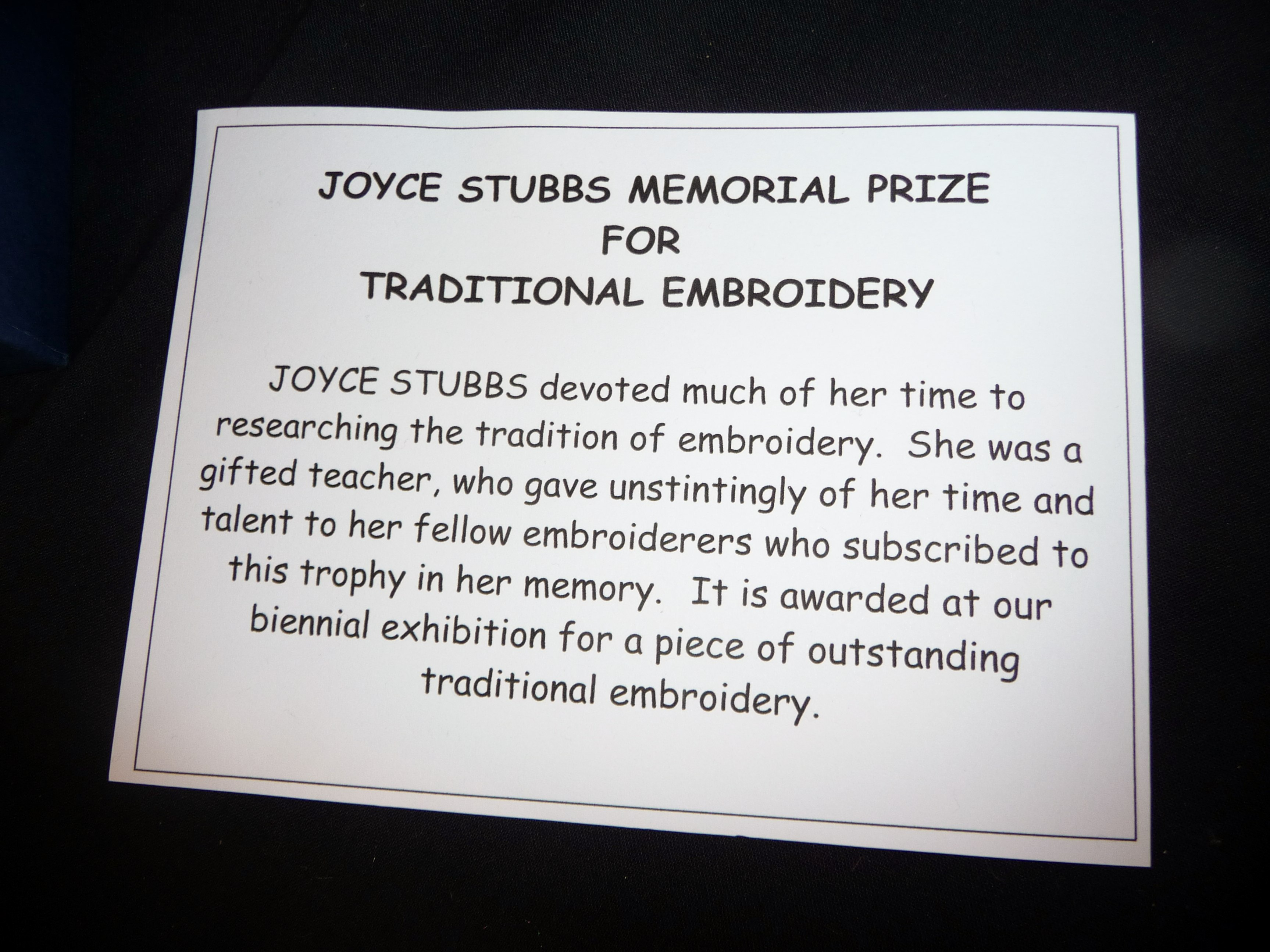 JOYCE STUBBS MEMORIAL PRIZE FOR TRADITIONAL EMBROIDERY
