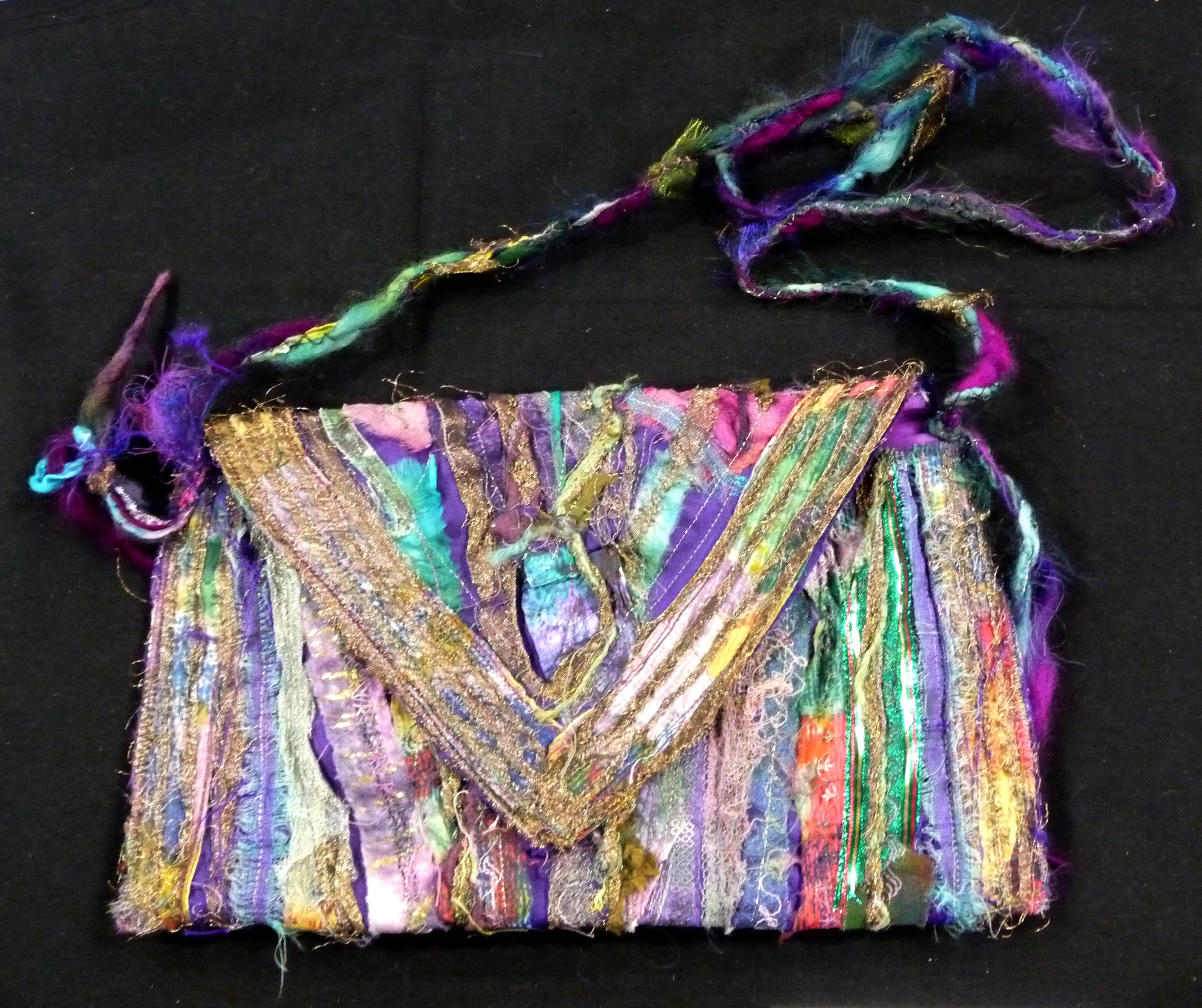 ENVELOPE BAG by Phyllis  Bryer, machine embroidered layers