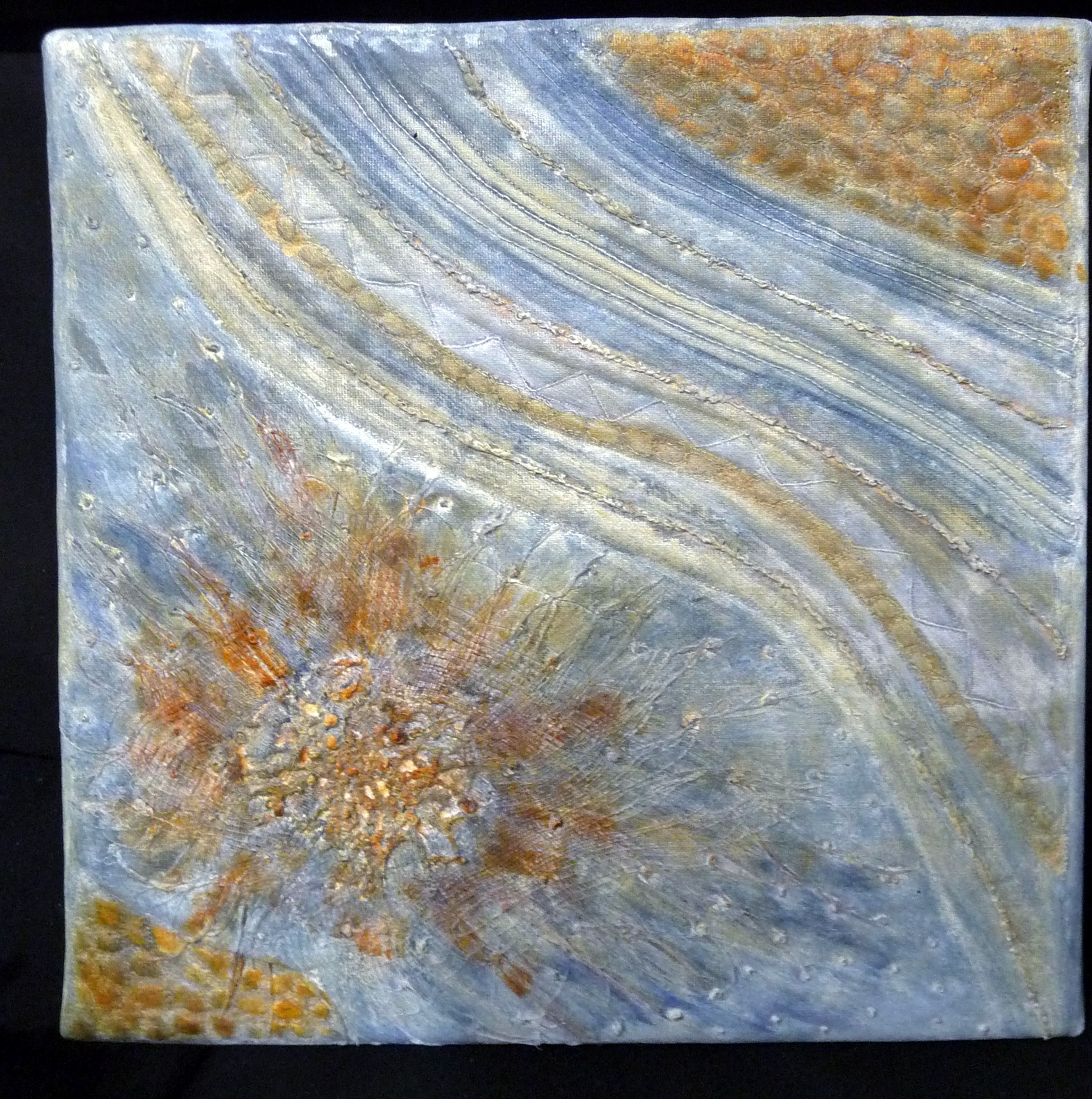 IMAGINATION 1 by Moya McCarthy, mixed media with hand and machine stitch