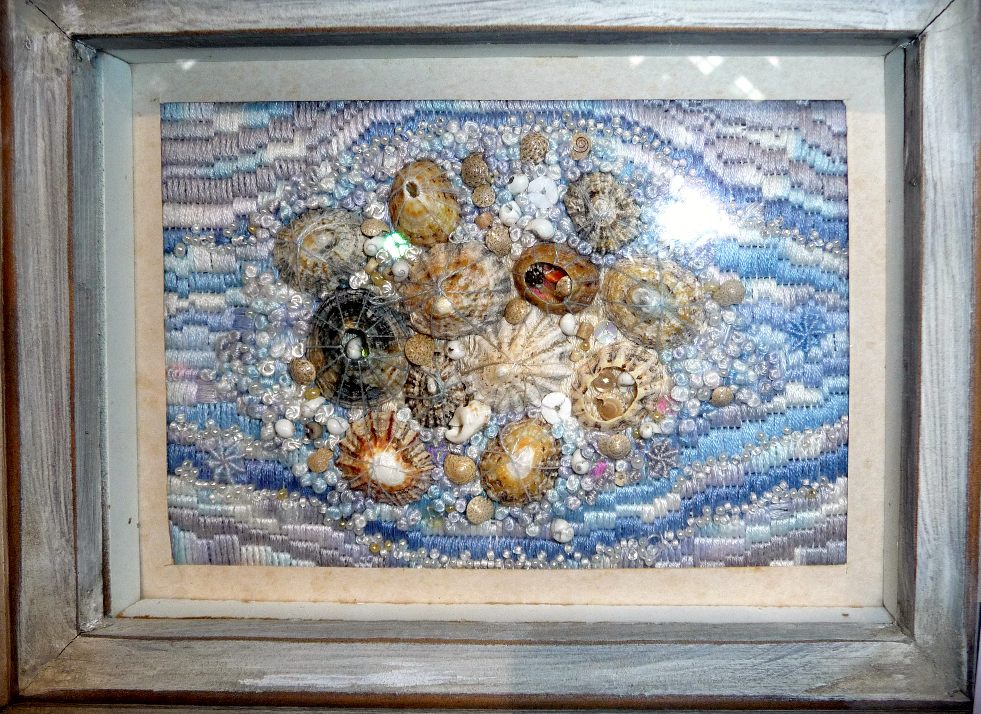 SEASHORE by Shirley Williams, embellished canvas embroidery
