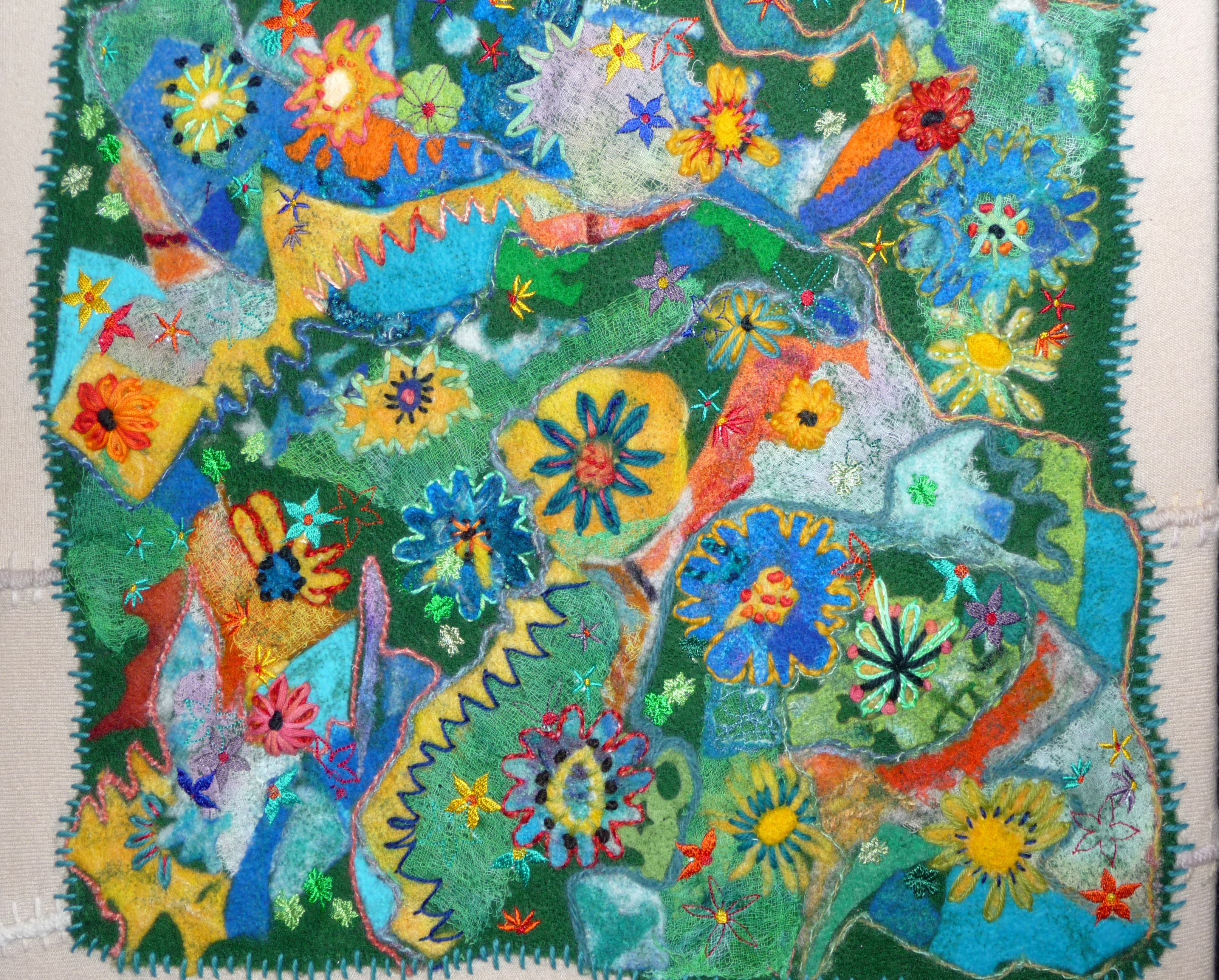 THE STATE OF MY BRAIN, Wild & Wacky, by Jane Jenkins, repurposed wools, felt off-cuts, old cardigan hand and machine embroidered