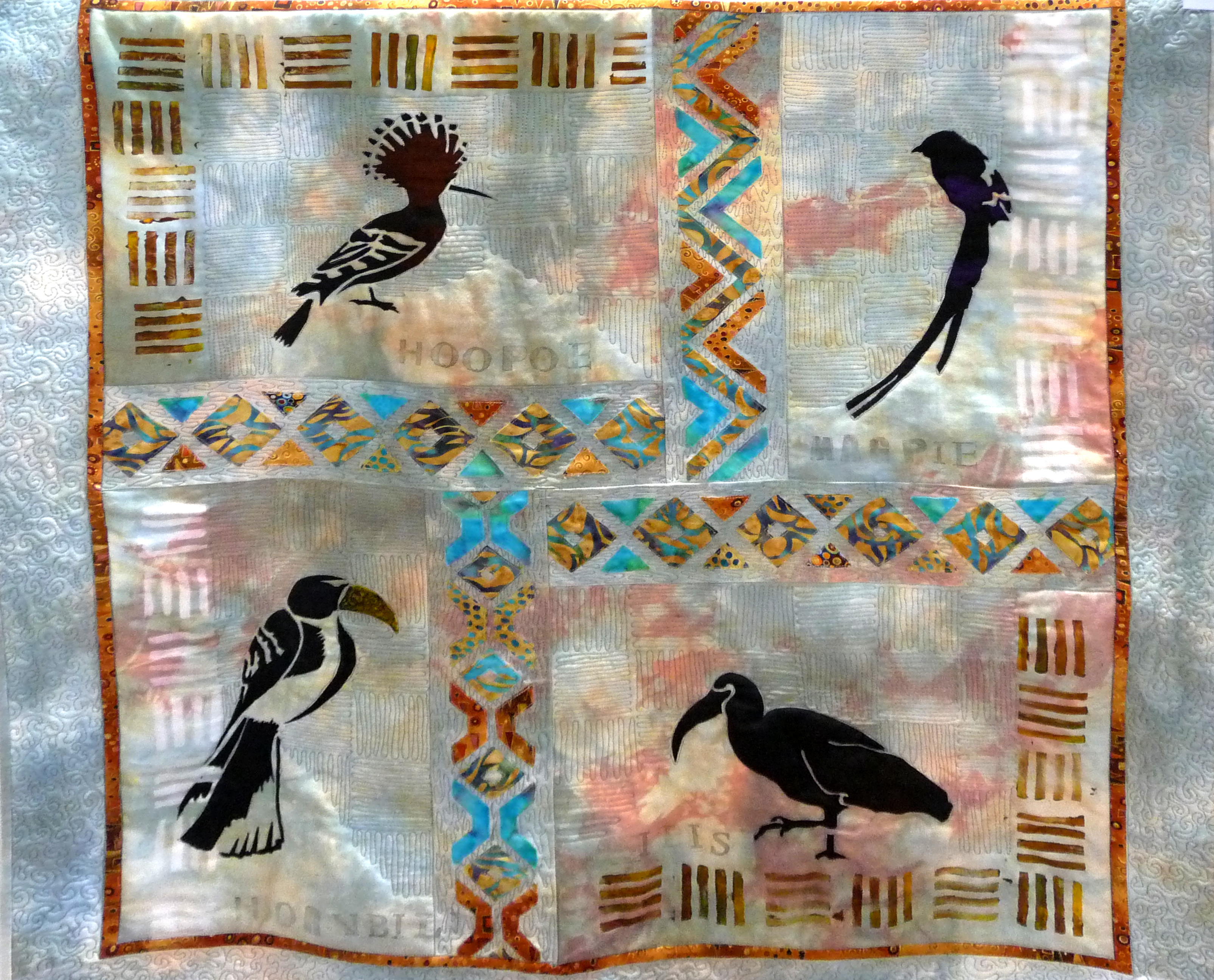 OUT OF AFRICA QUILT by Tina Watkins, hand dyed fabric, screen and hand printed