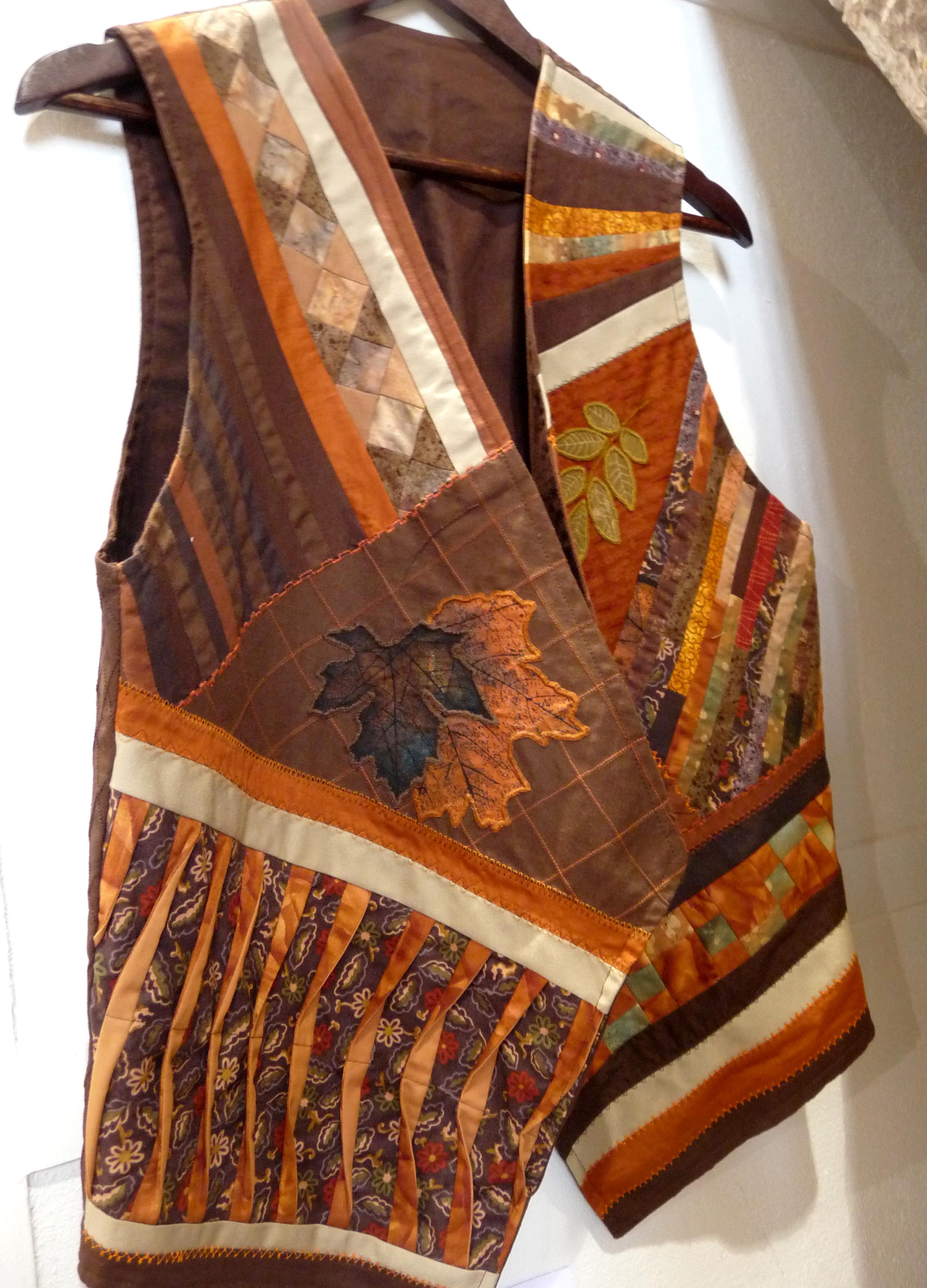 WAISTCOAT 2 by Brenda Baxter, random log cabin patchwork