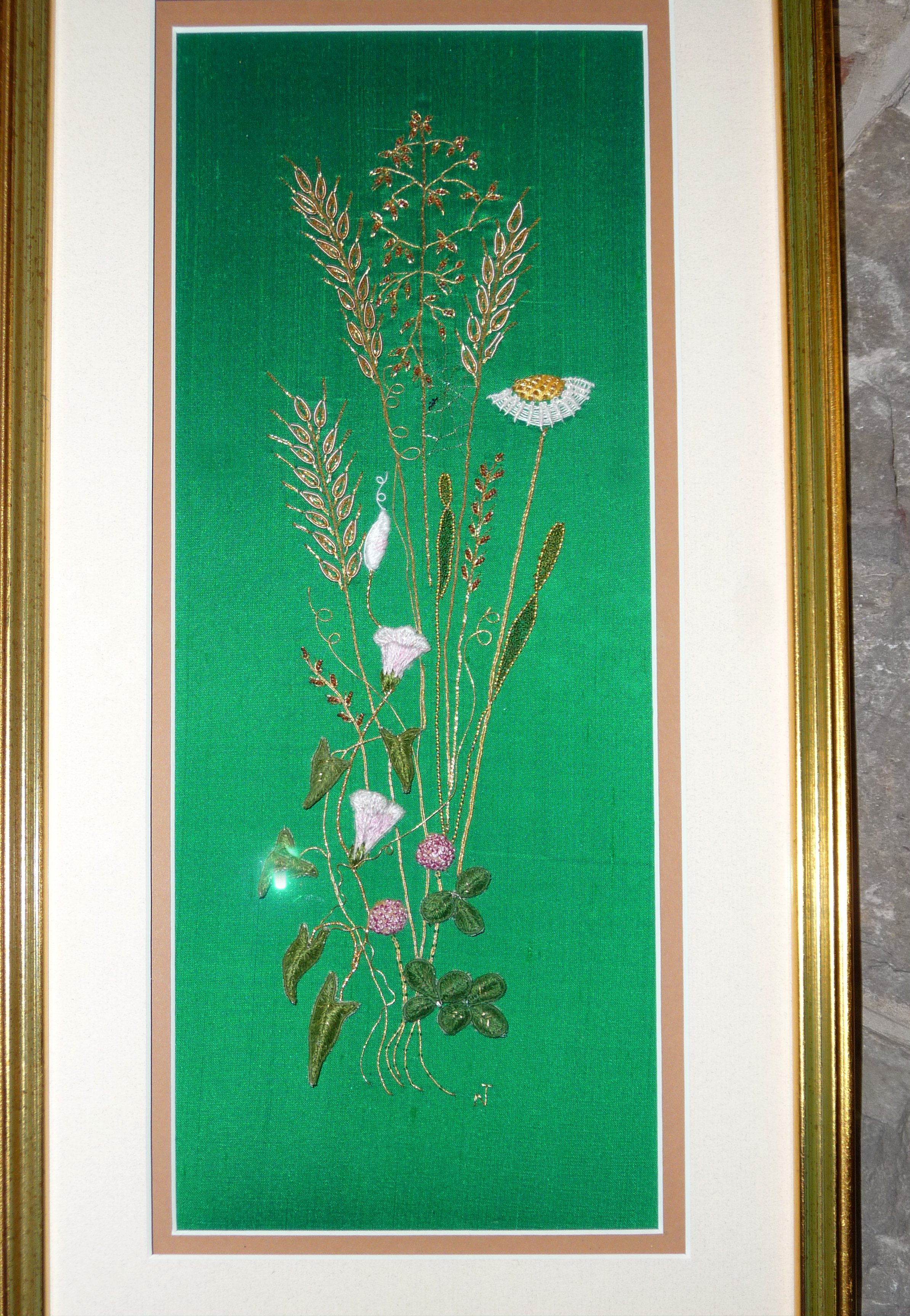 CORNFIELD by Norma Tanswell, goldwork and stumpwork