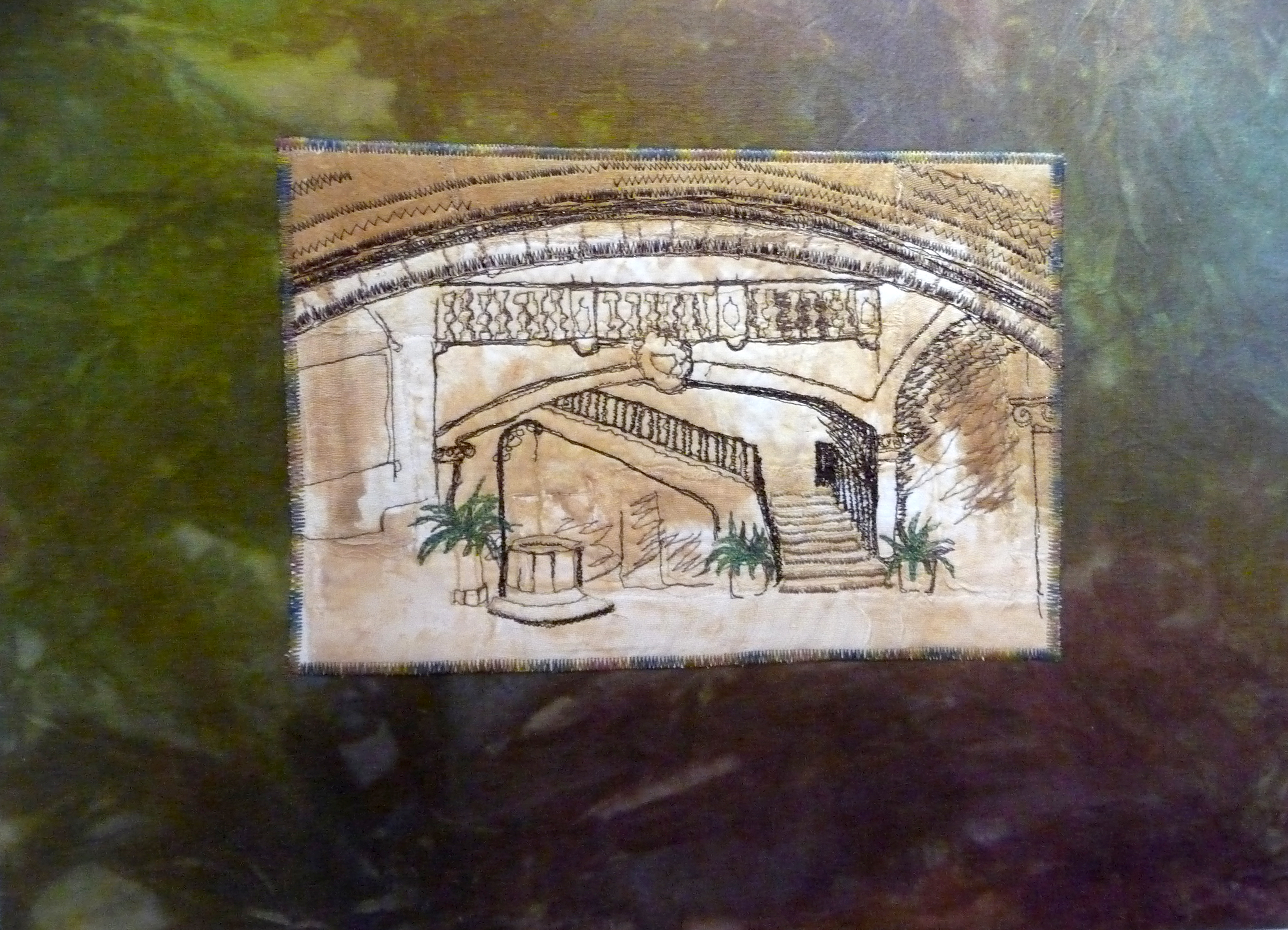 SPANISH STAIRCASE by Valerie Cockcroft, machine embroidered painted fabric