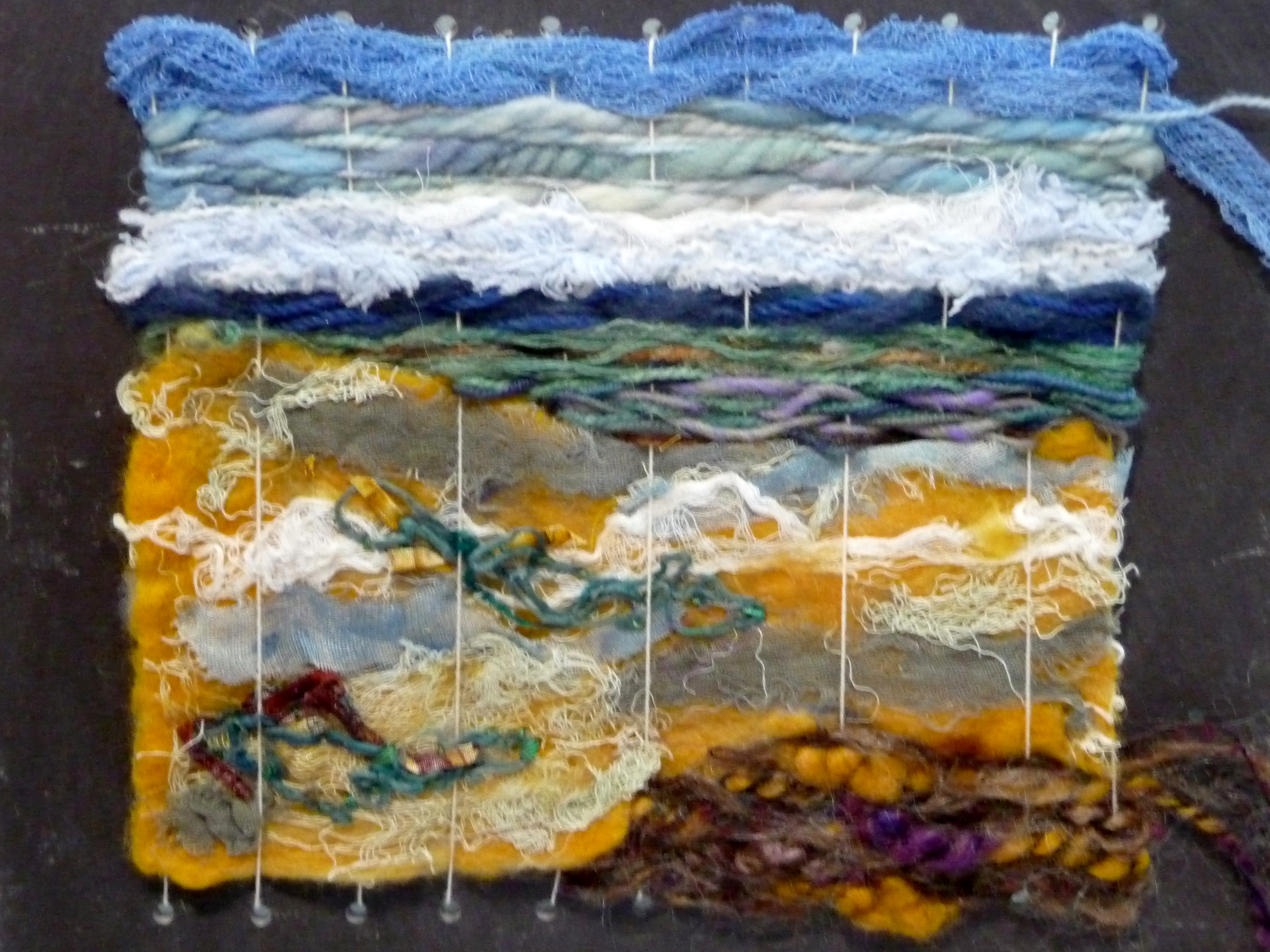WEAVING 3 by Ronalda White, mixed fibres on slate