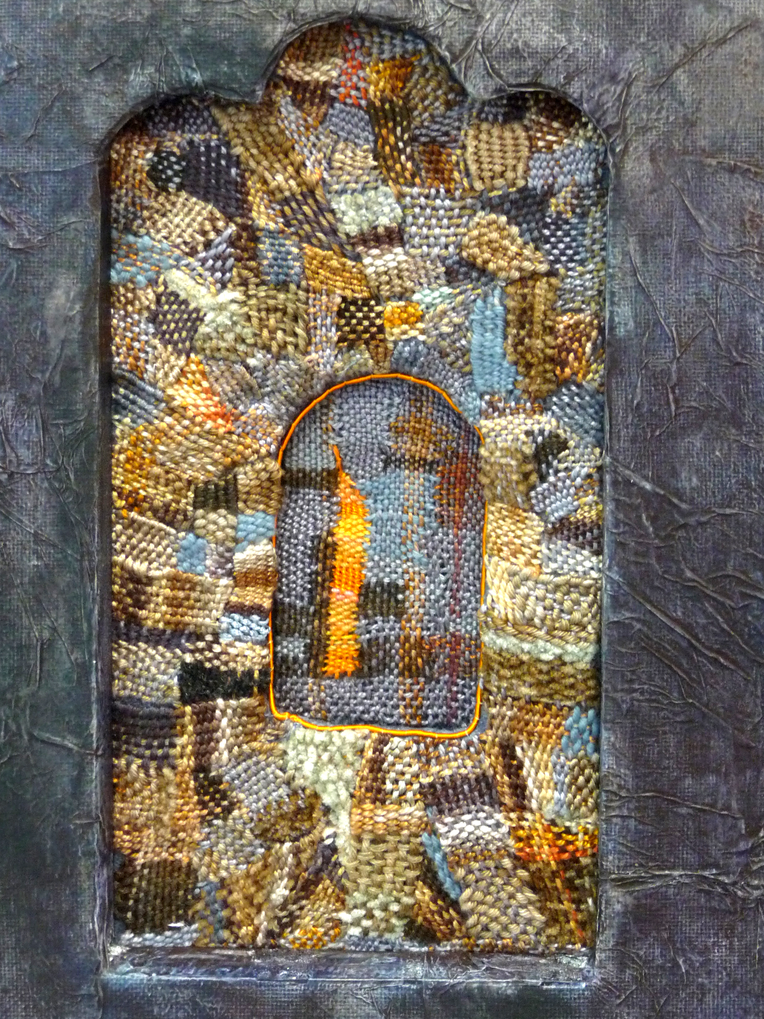 HAFODUNOS by Alison Corfield, hand embroidery with hand dyed threads
