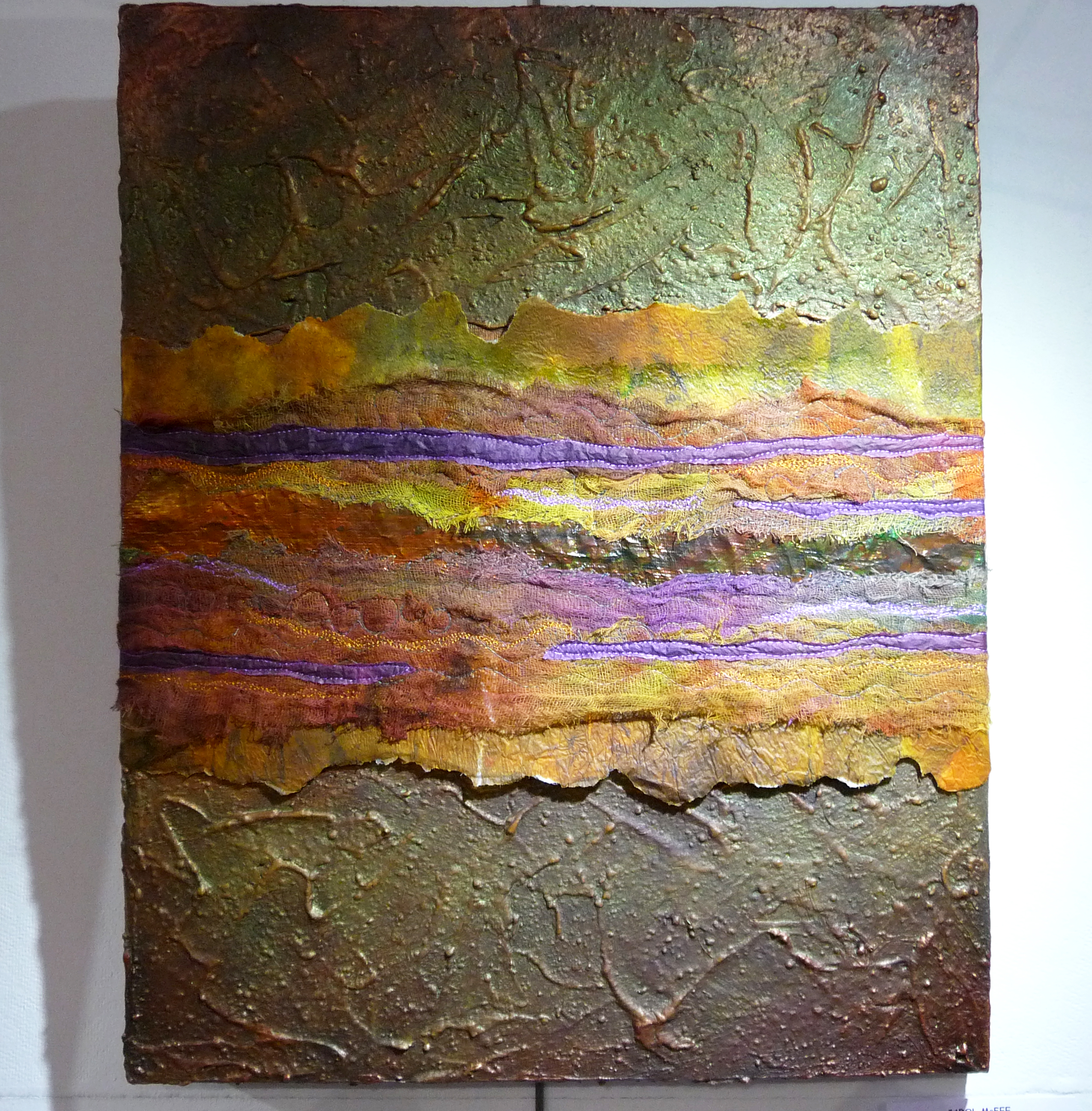 AUTUMN GLOW by Carol McFee, mixed media, lutrador, silk, foil, paper, paint and stitch