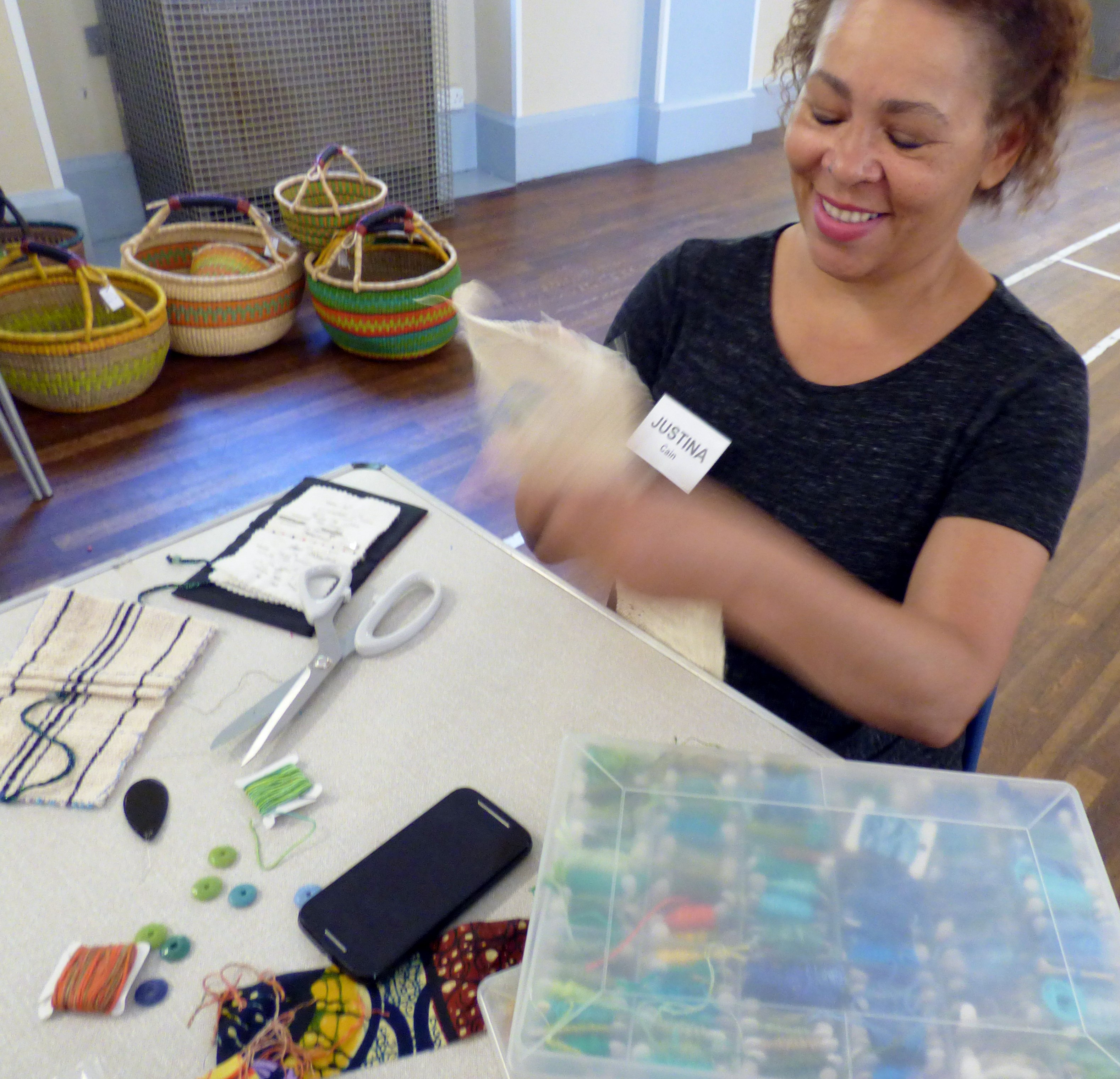 """student at """"Creative with Strip Cloth"""" workshop with Magie Relph, September 2016"""