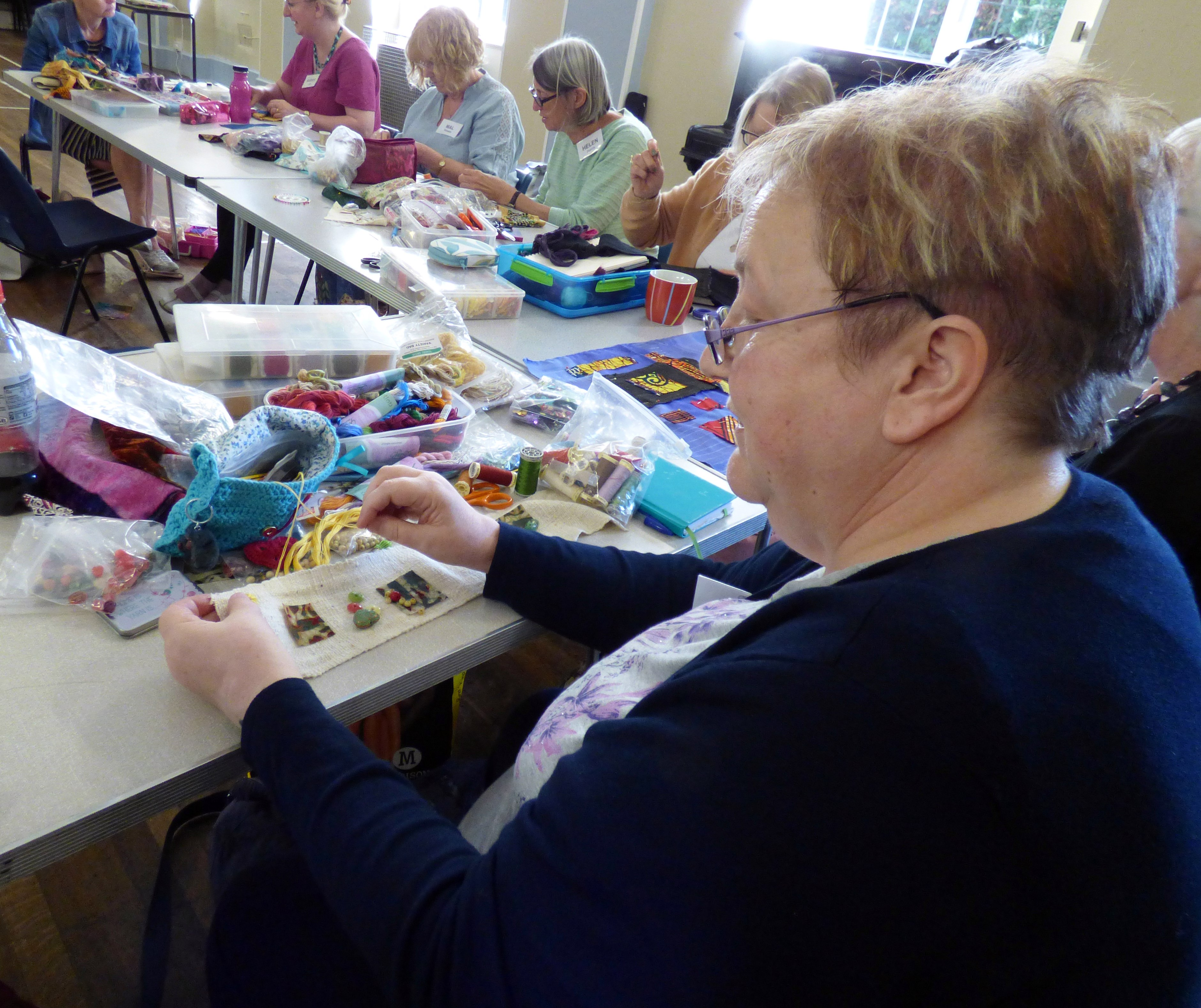 """students at """"Creative with Strip Cloth"""" workshop with Magie Relph, September 2016"""