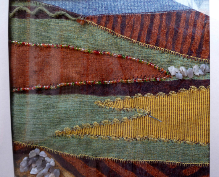 LANDSCAPE 2 by Linda Mary Evans, collage, mixed media using fabric and machine stitching