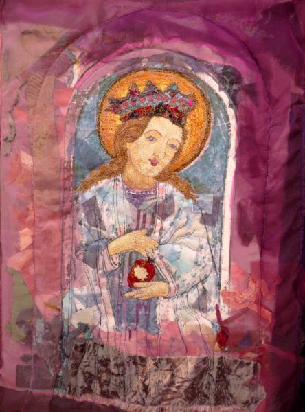 WOMEN IN ISTRIAN FRESCOES by Susan Meyerhoff Sharples, machine embroidery