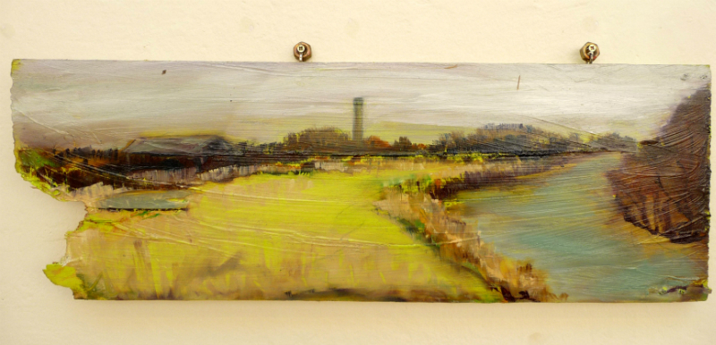 THE LAND\'S EDGE by Josie Jenkins, acrylic and oil on MDF with recycled fittings
