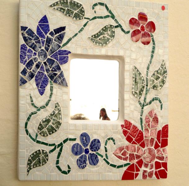 PICCOLO SPECCHIO 1 by Margi Adams. a small mirror created using broken plates