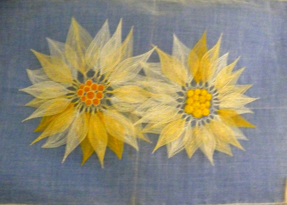 Table mat with Sunflowers by Joy Clucas nee Dobbs, 1960