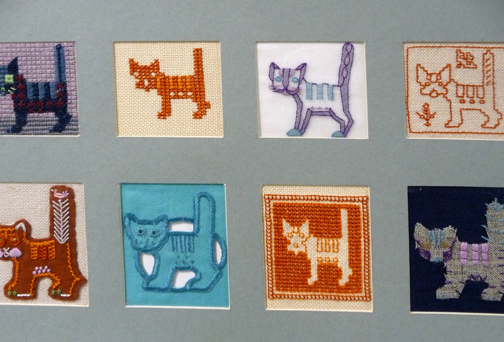 Cat samples by Barbara Snook and students, mid 20th century