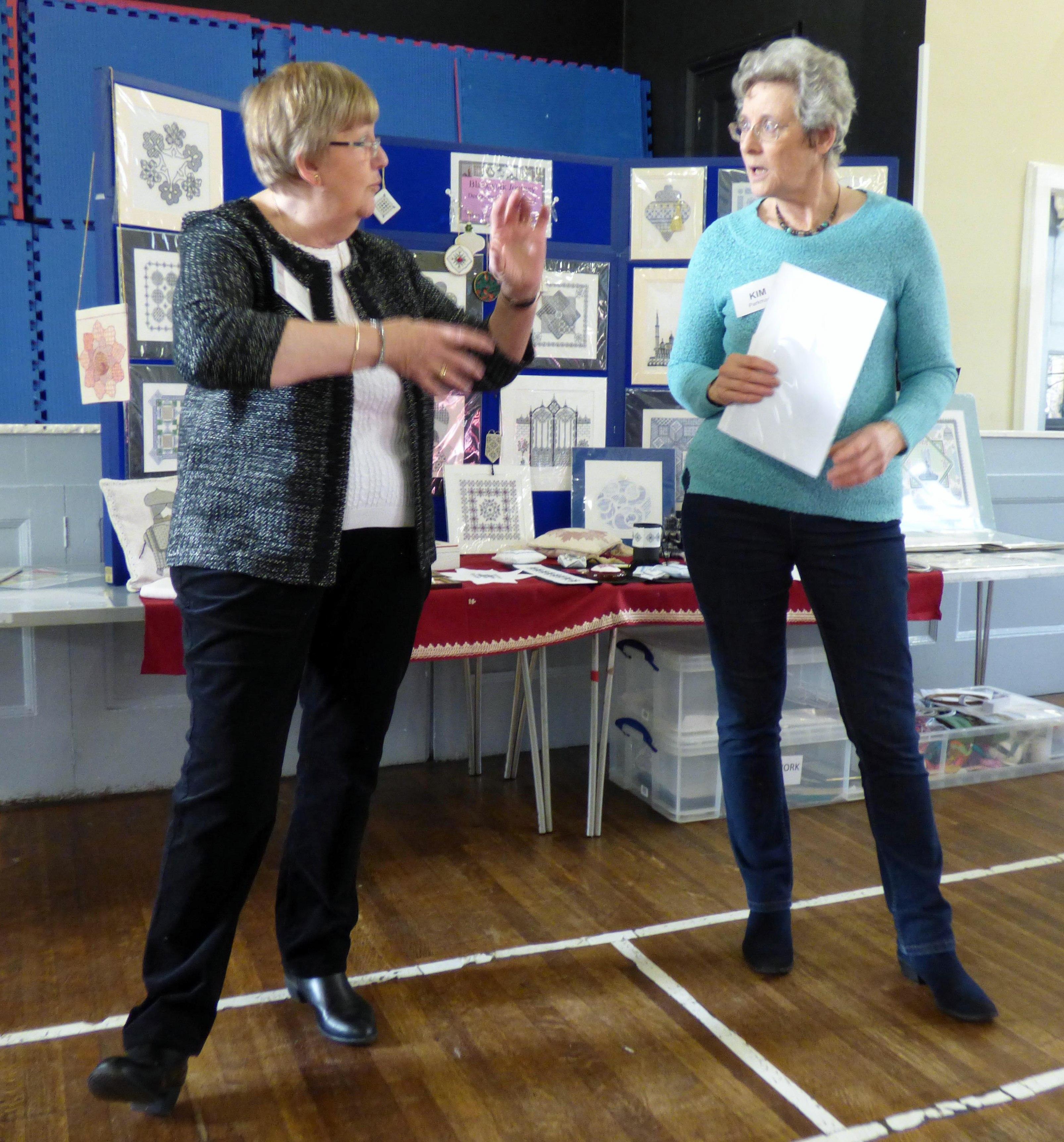 Elizabeth Almond with Kim at Blackwork with Elizabeth Almond at Merseyside EG, Nov 2017
