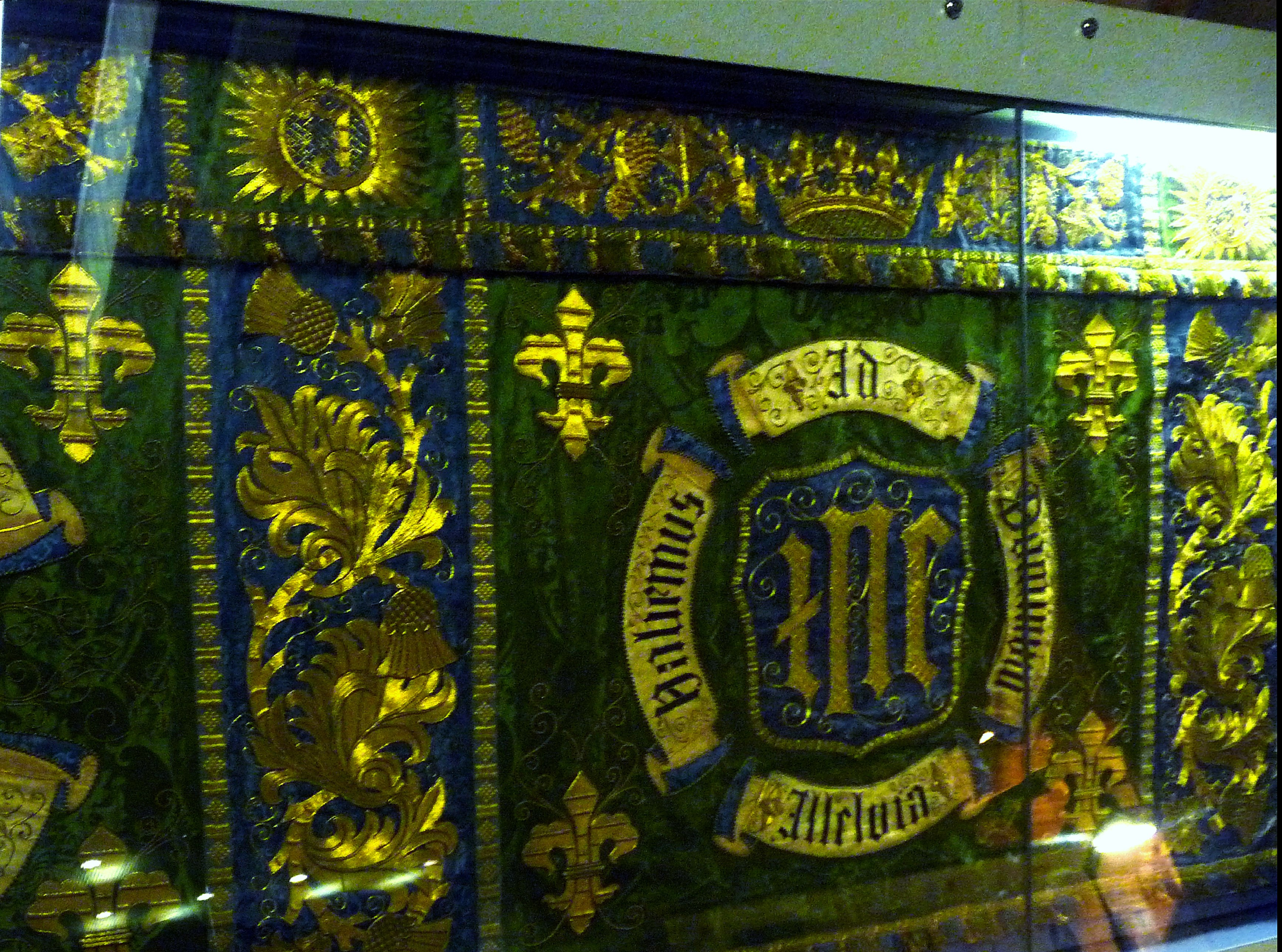 Frontal for the Lady Chapel of Liverpool Cathedral worked by Margaret and Maria Comber between 1906 and 1909. They were members of the Liverpool Cathedral Embroidery Association.