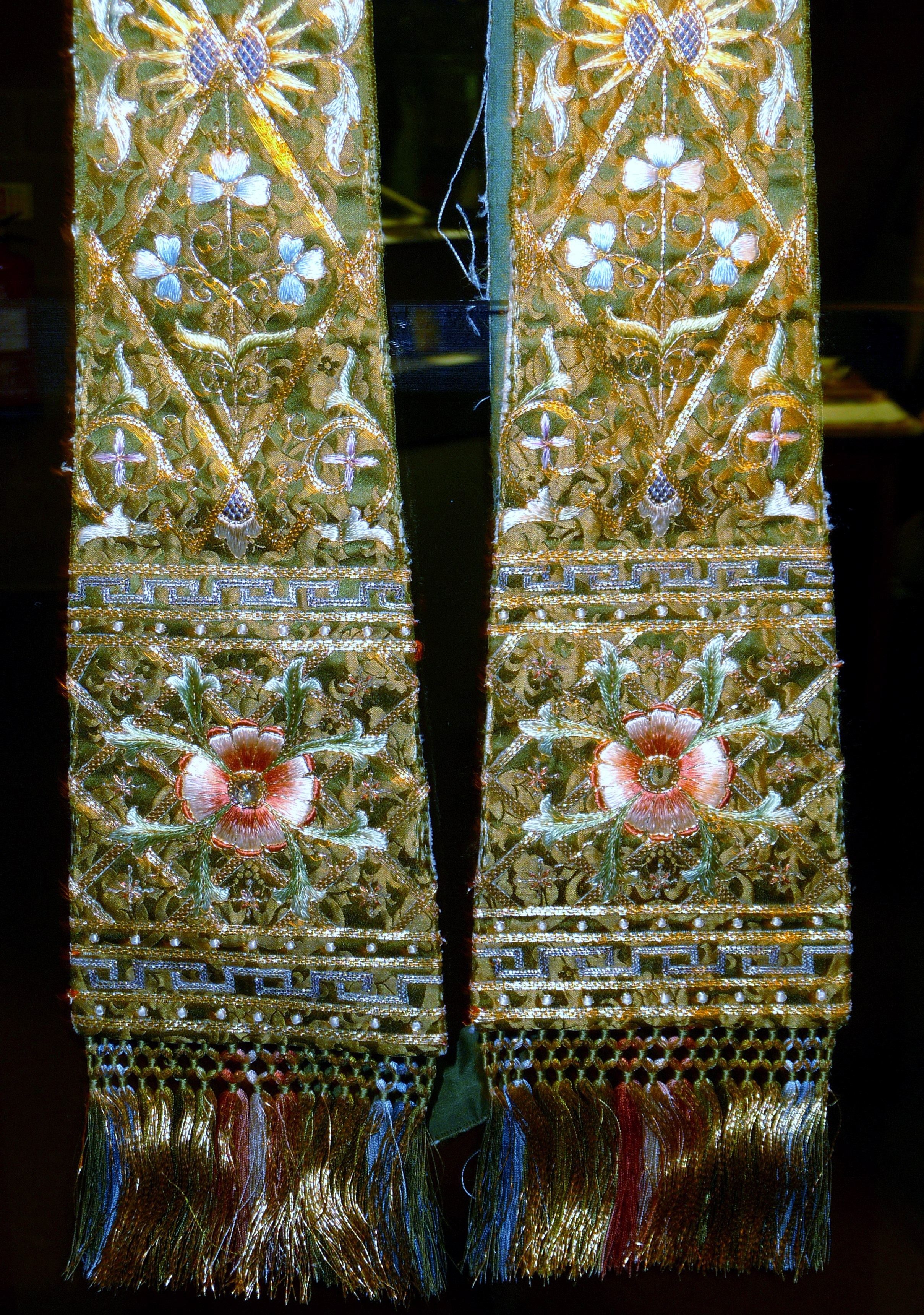 embroidered Stole on display in Lady Hoare Gallery of Liverpool Cathedral