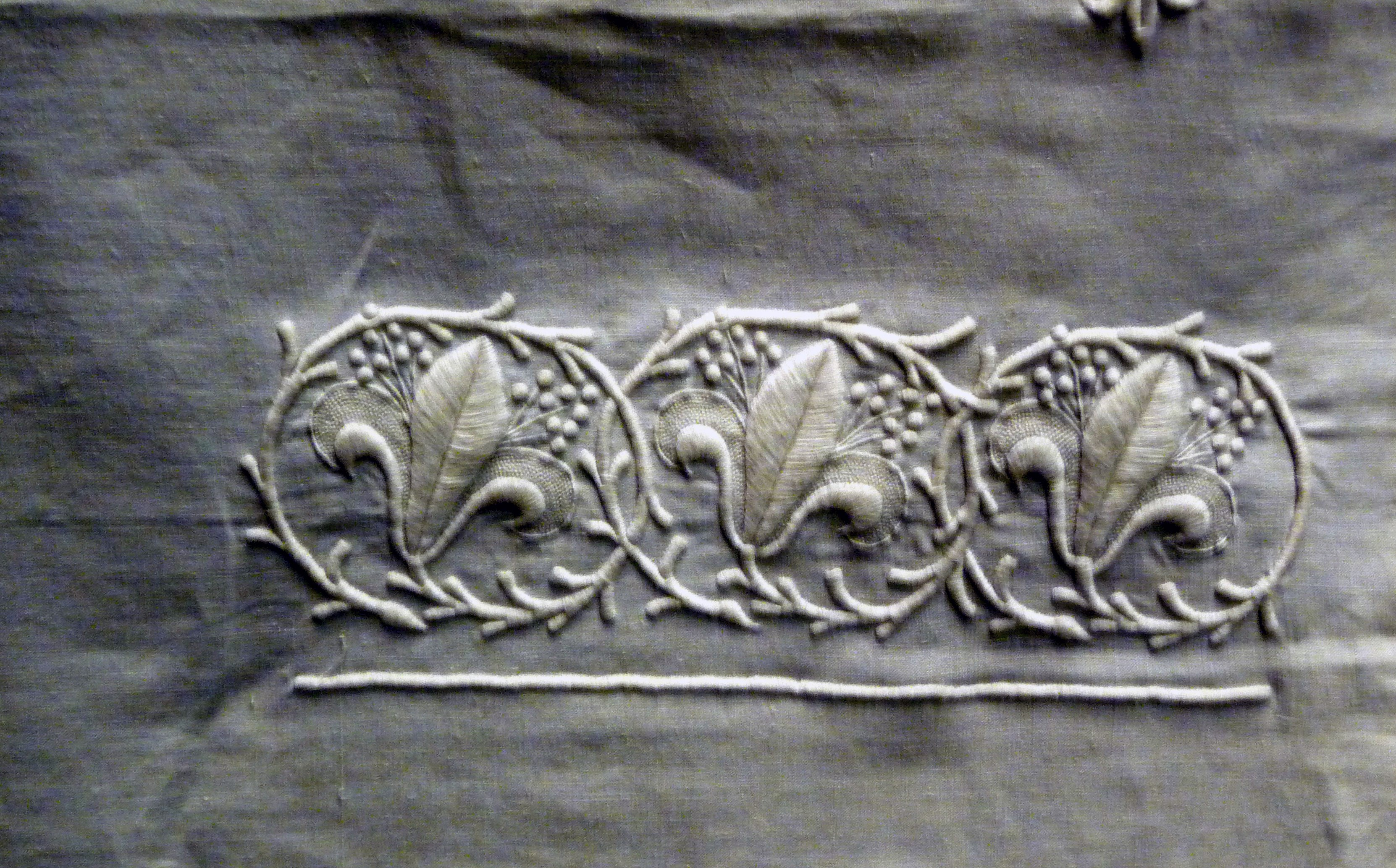 sample of whitework on display in Lady Hoare Gallery of Liverpool Cathedral