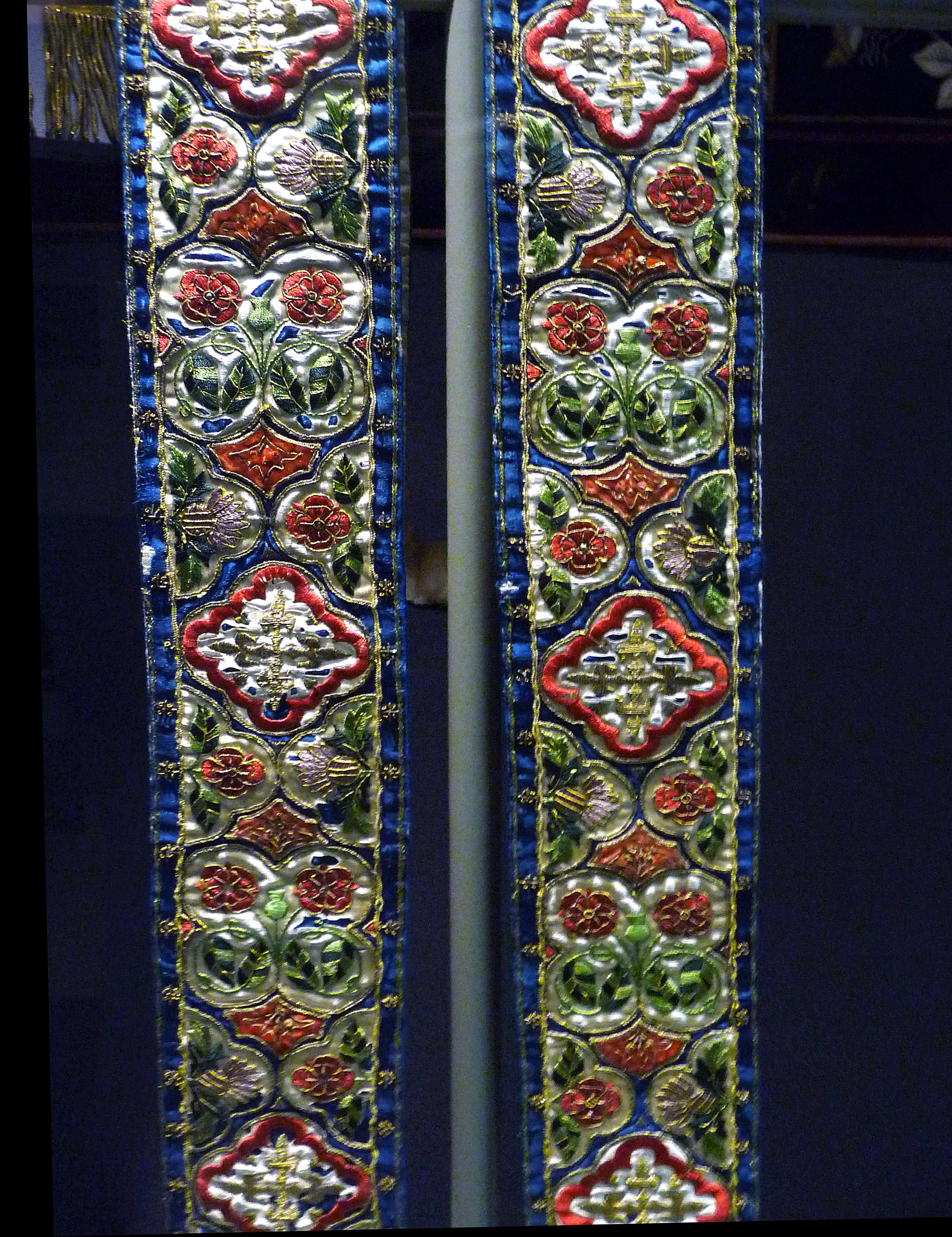 embroidered Stole on display in Lady Hoare Gallery of Liverpool Cathedral. Designed between 1840 and 1850 by Augustus Pugin and embroidered in Mrs Powell's workshop. She was the wife of Canon Powell of Knotty Ash.
