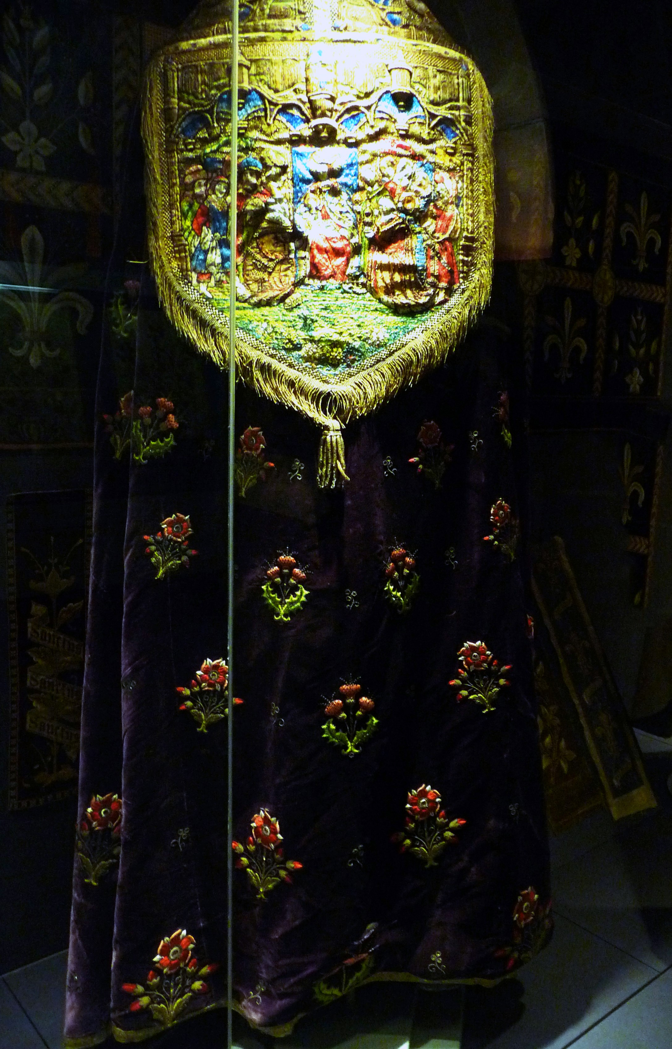 embroidered Cope on display in Lady Hoare Gallery, Liverpool Cathedral. It was rescued from a skip