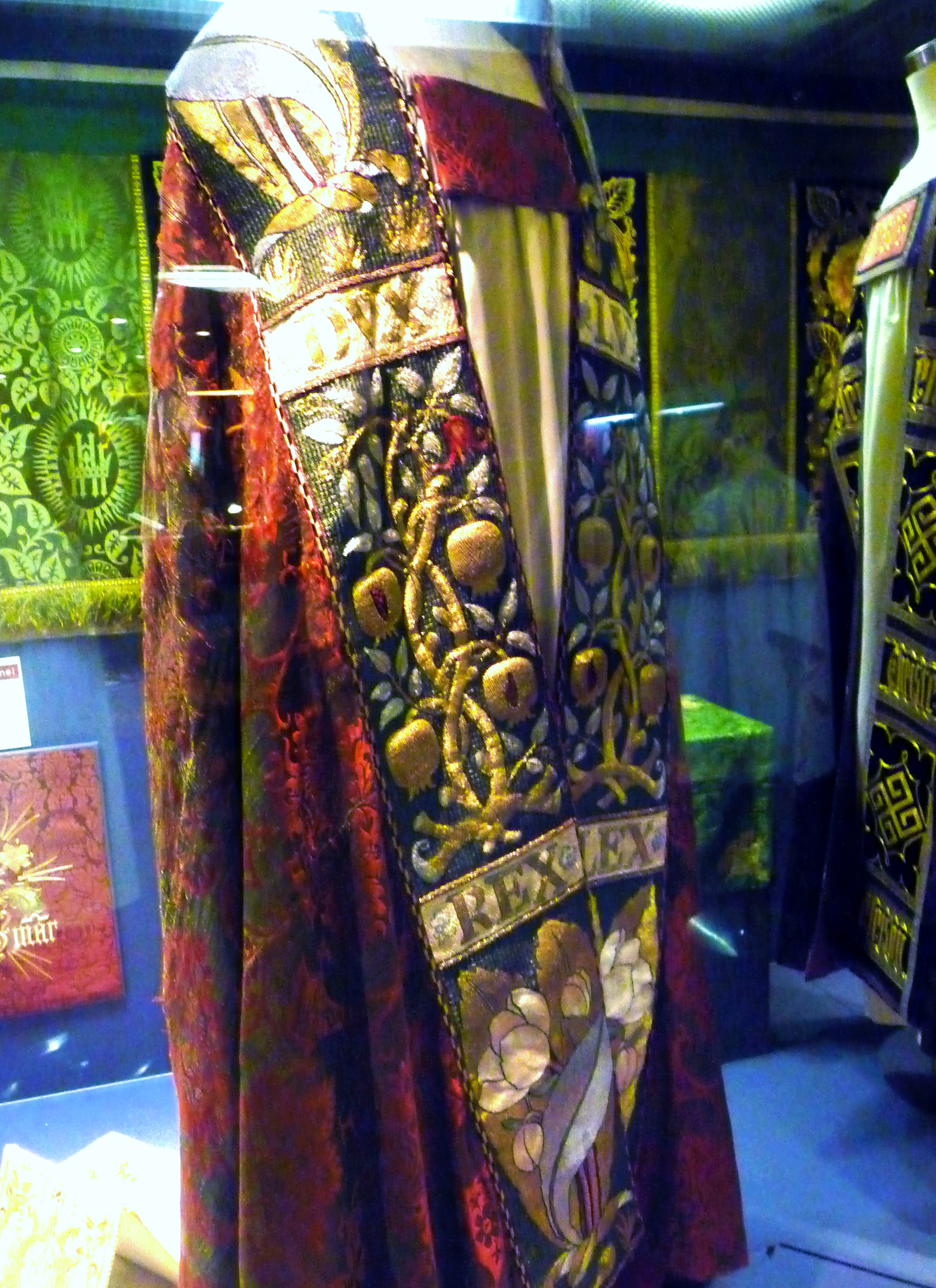 embroidered Cope designed in 1870's and embroidered in East Grinstead  convent on display in Elizabeth Hoare Gallery of Liverpool Cathedral