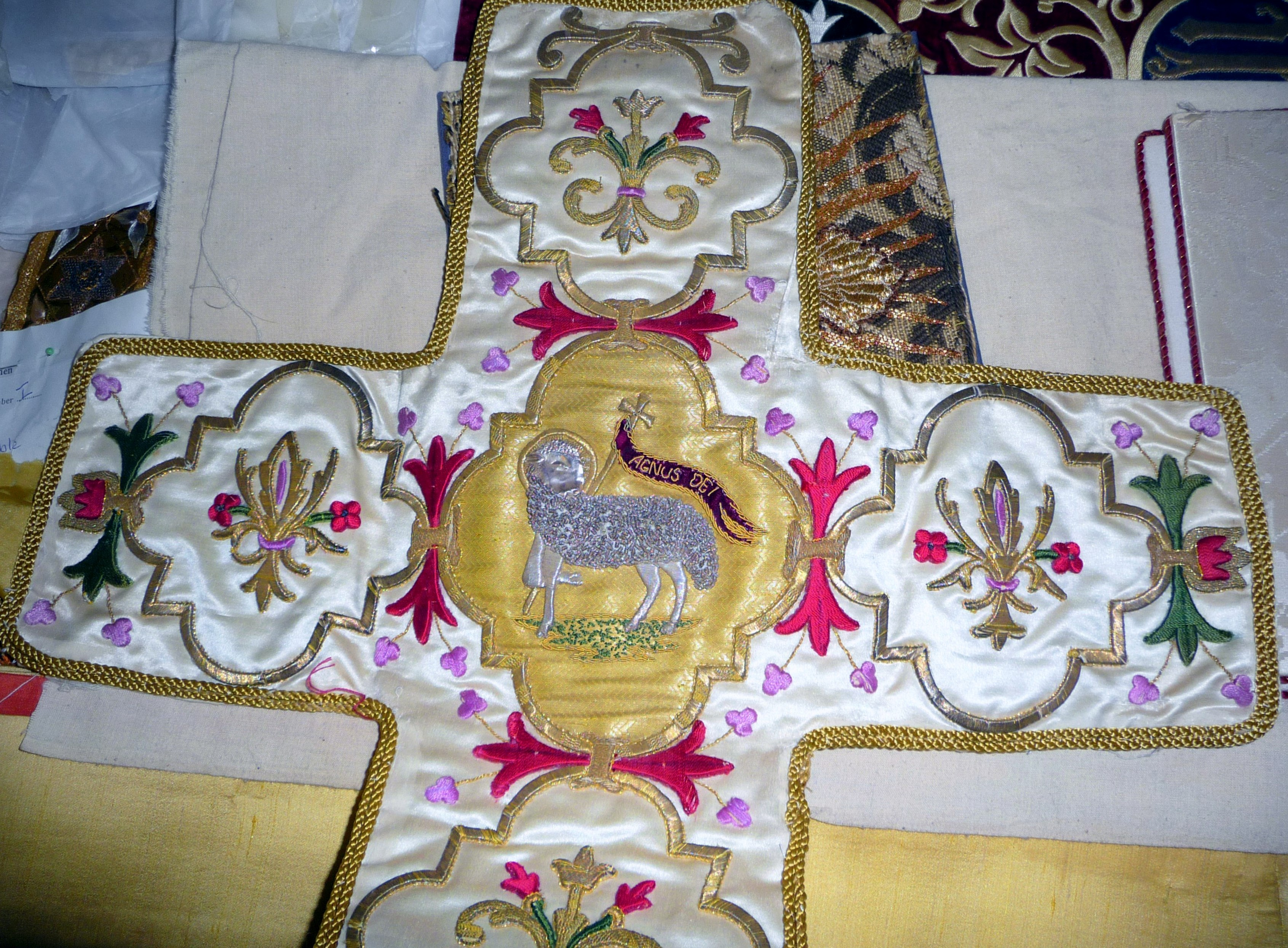 embroidery on display in Elizabeth Hoare Gallery, Liverpool Cathedral