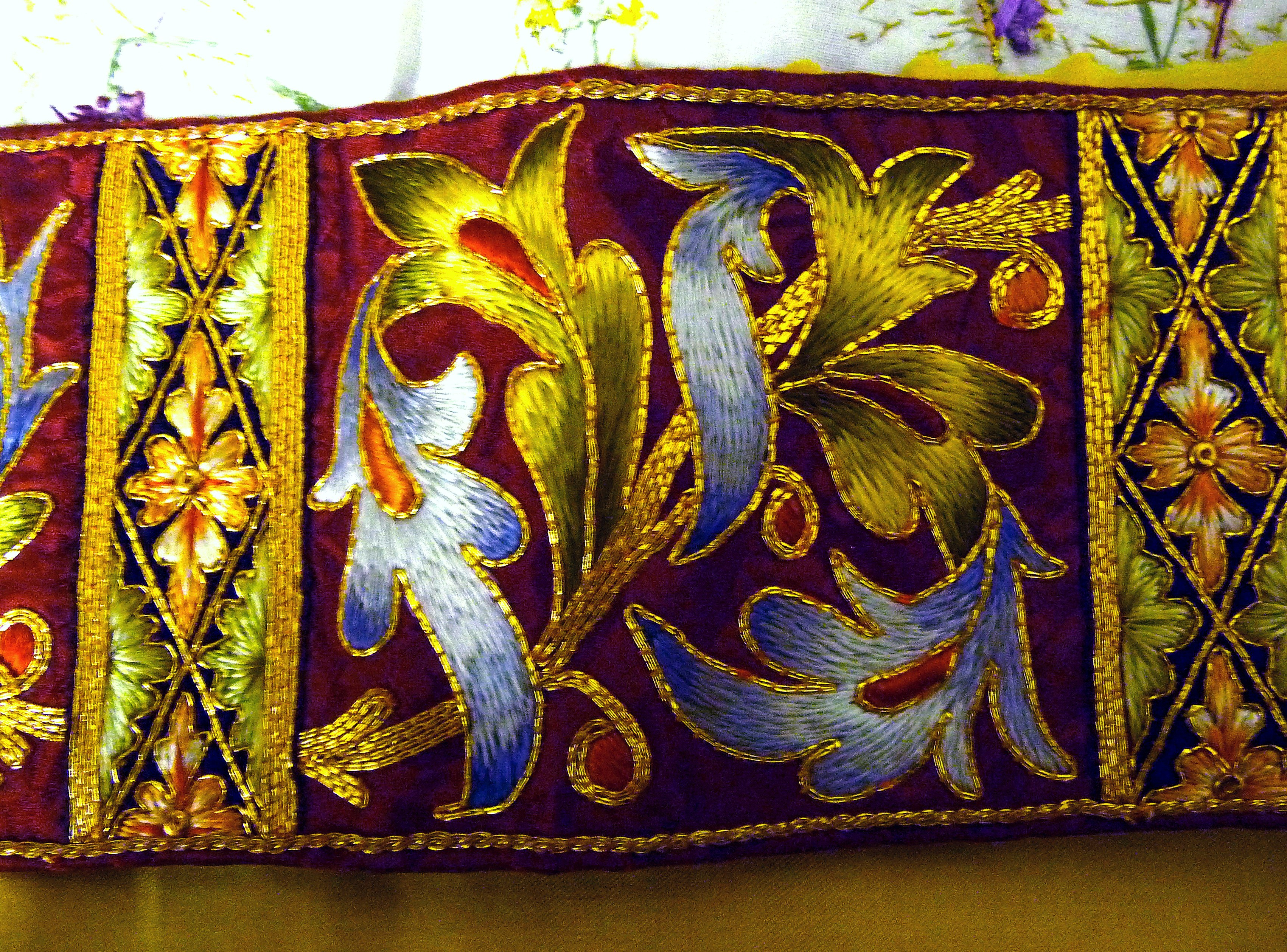 detail of embroidery on display in Elizabeth Hoare Gallery, Liverpool Cathedral