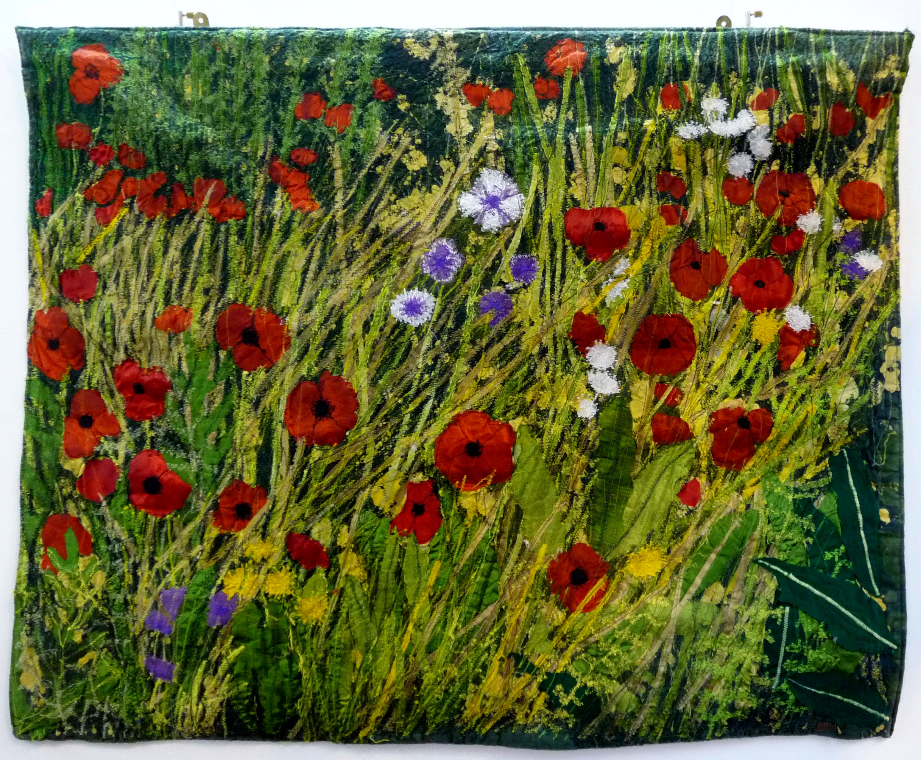 entry to Capability Brown Festival with Embroiderers' Guild, POPPIES IN THE WILD GARDEN AT WHITTINGTON PARK by Betty Fraser Myerscough