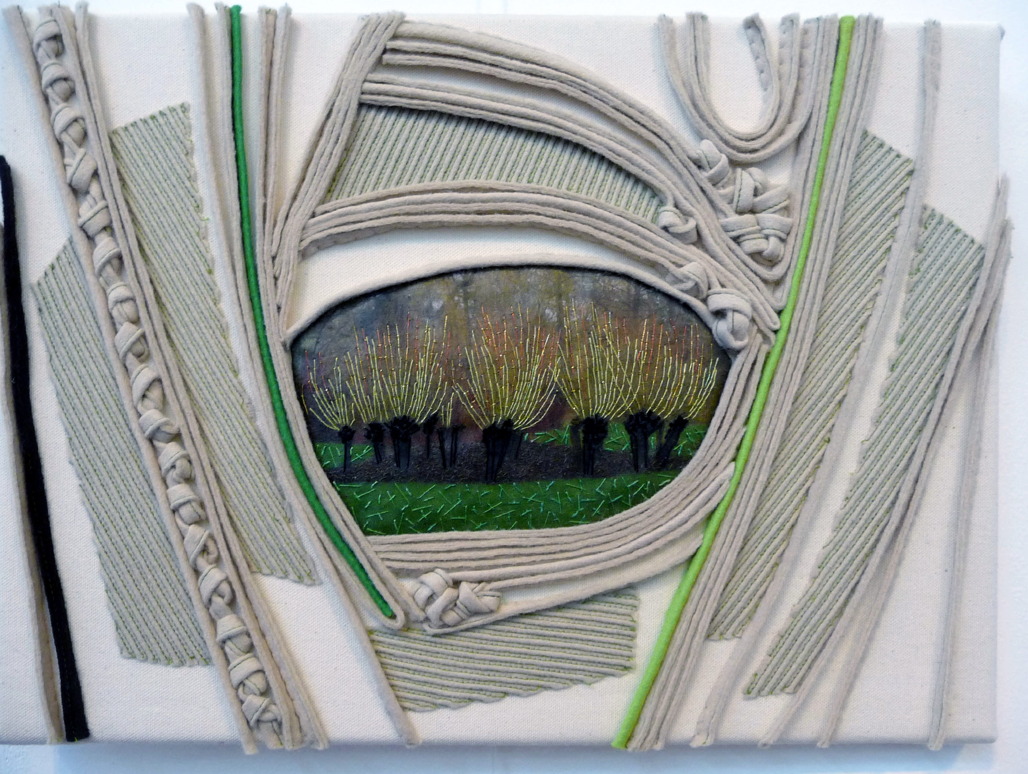 entry to Capability Brown Festival with Embroiderers' Guild, CORNUS AUREA IN WINTER AT LEEDS CASTLE by Diana Springall