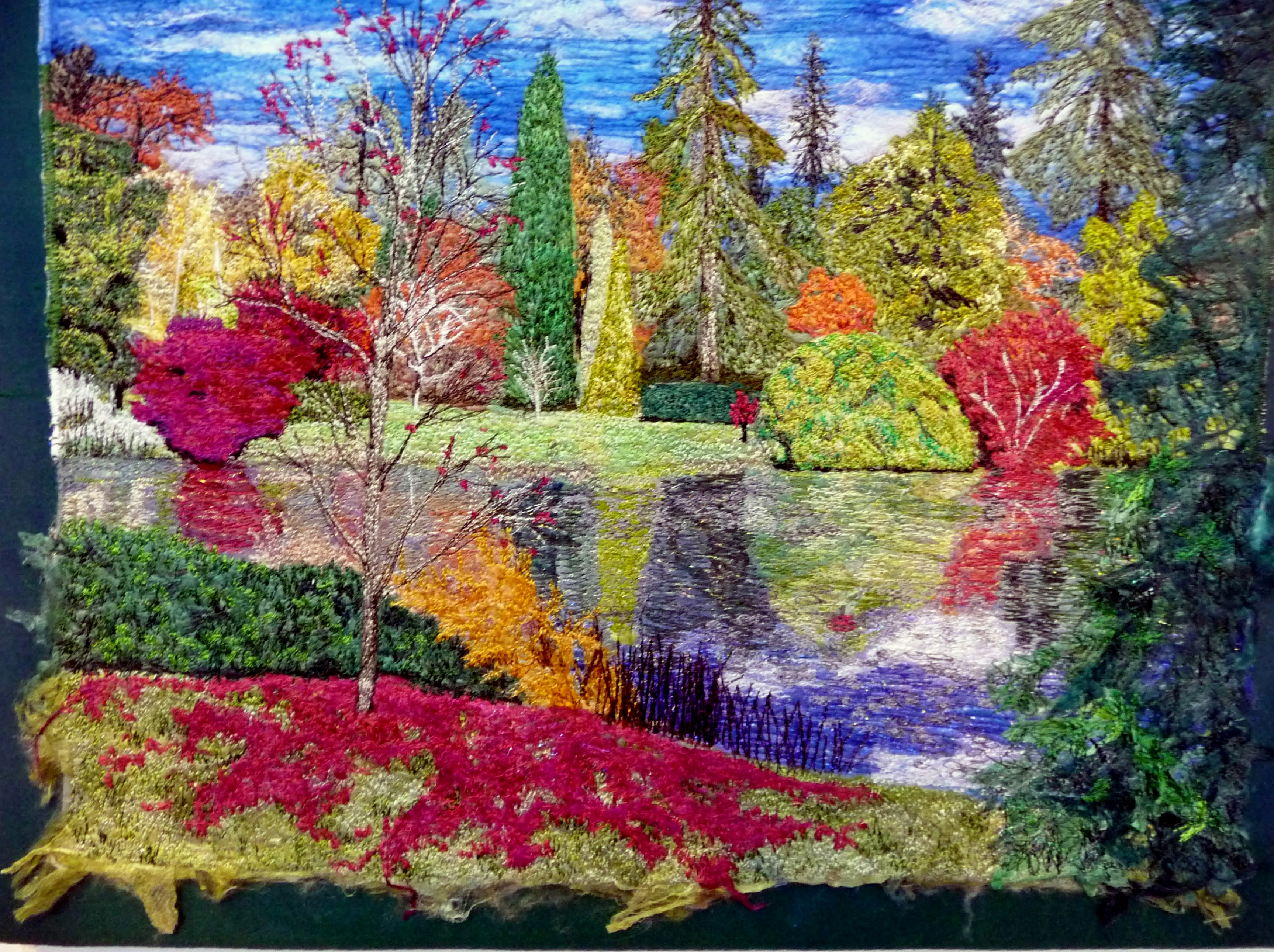 entry to Capability Brown Festival with Embroiderers' Guild, A BLAZE OF SEASON COLOUR by Diana McKinnon