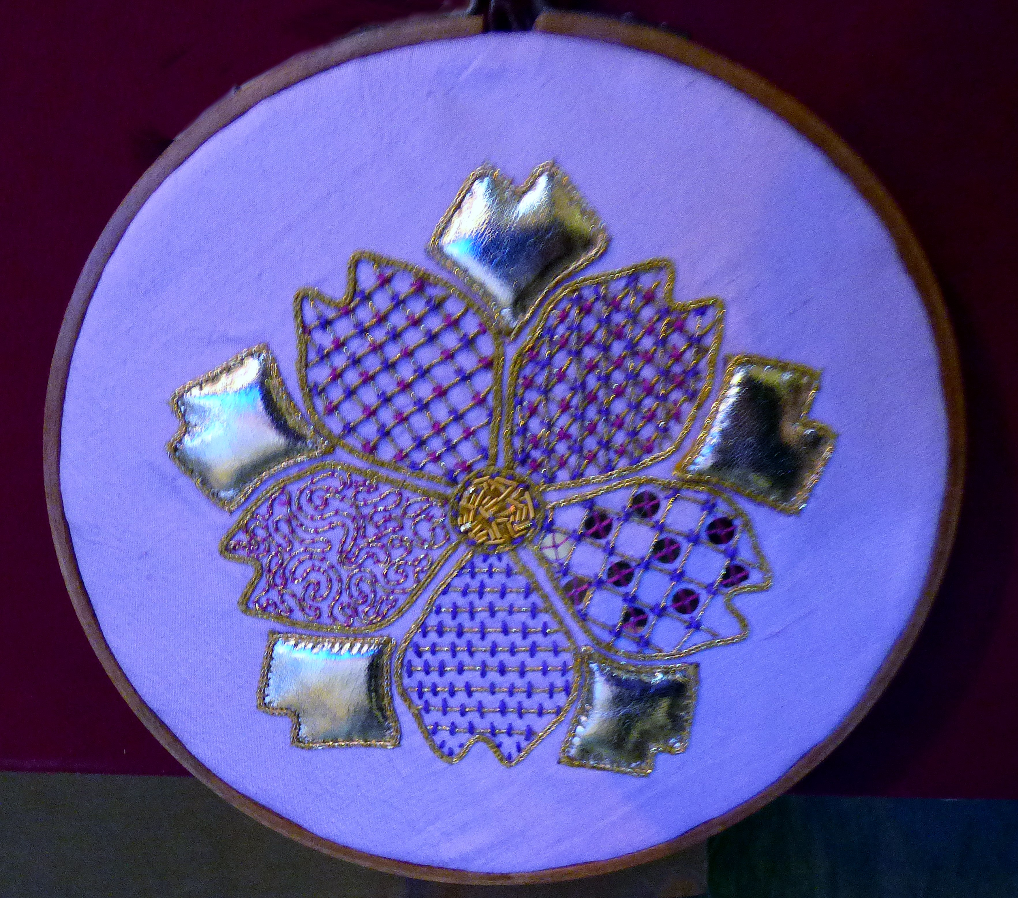 GOLDWORK by F.Trotman at Embroidery for Pleasure exhibition, Liverpool Metropolitan Cathedral 2016