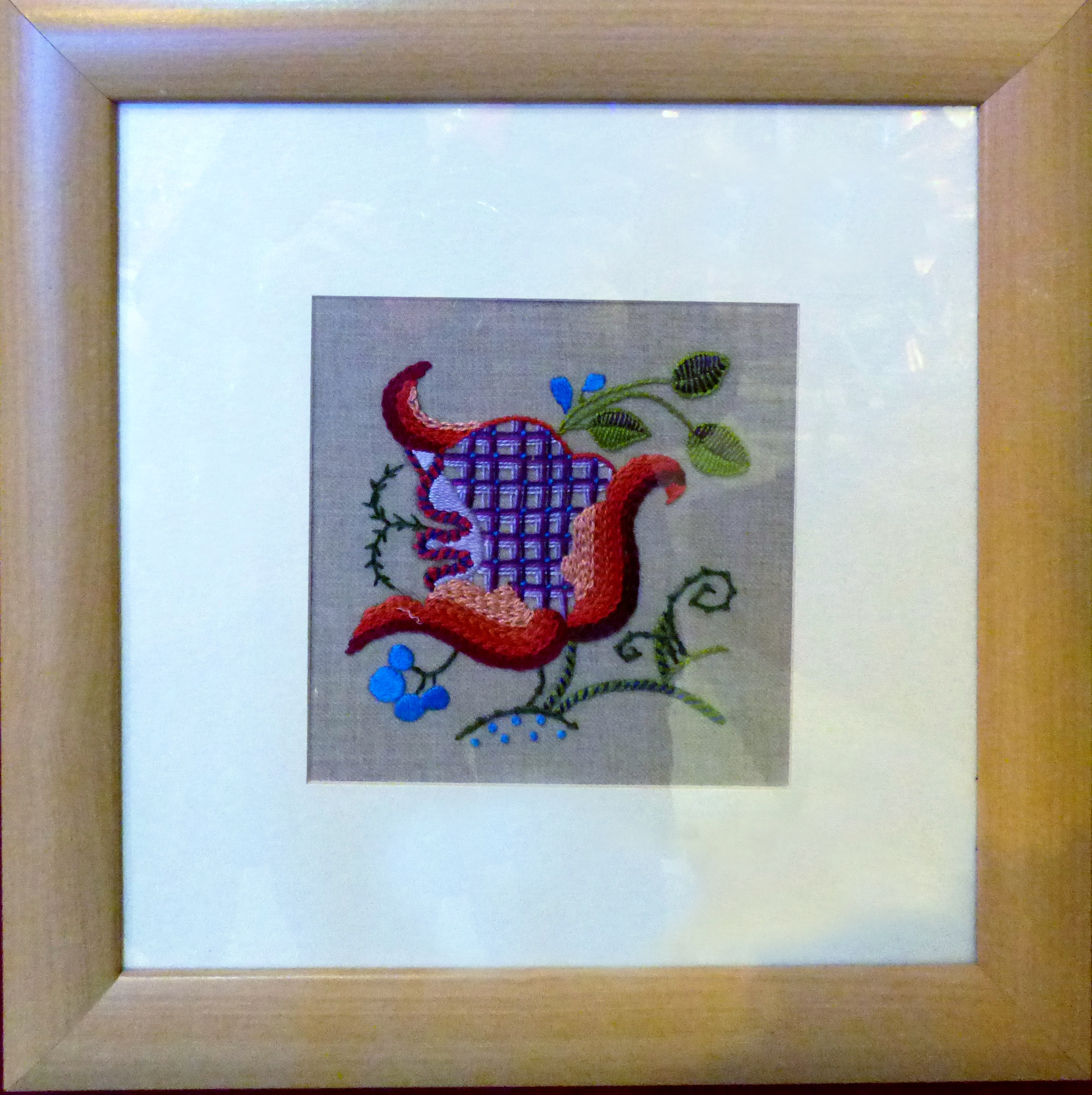 CREWELWORK by H.McCormack, at Embroidery for Pleasure exhibition, Liverpool Metropolitan Cathedral 2016